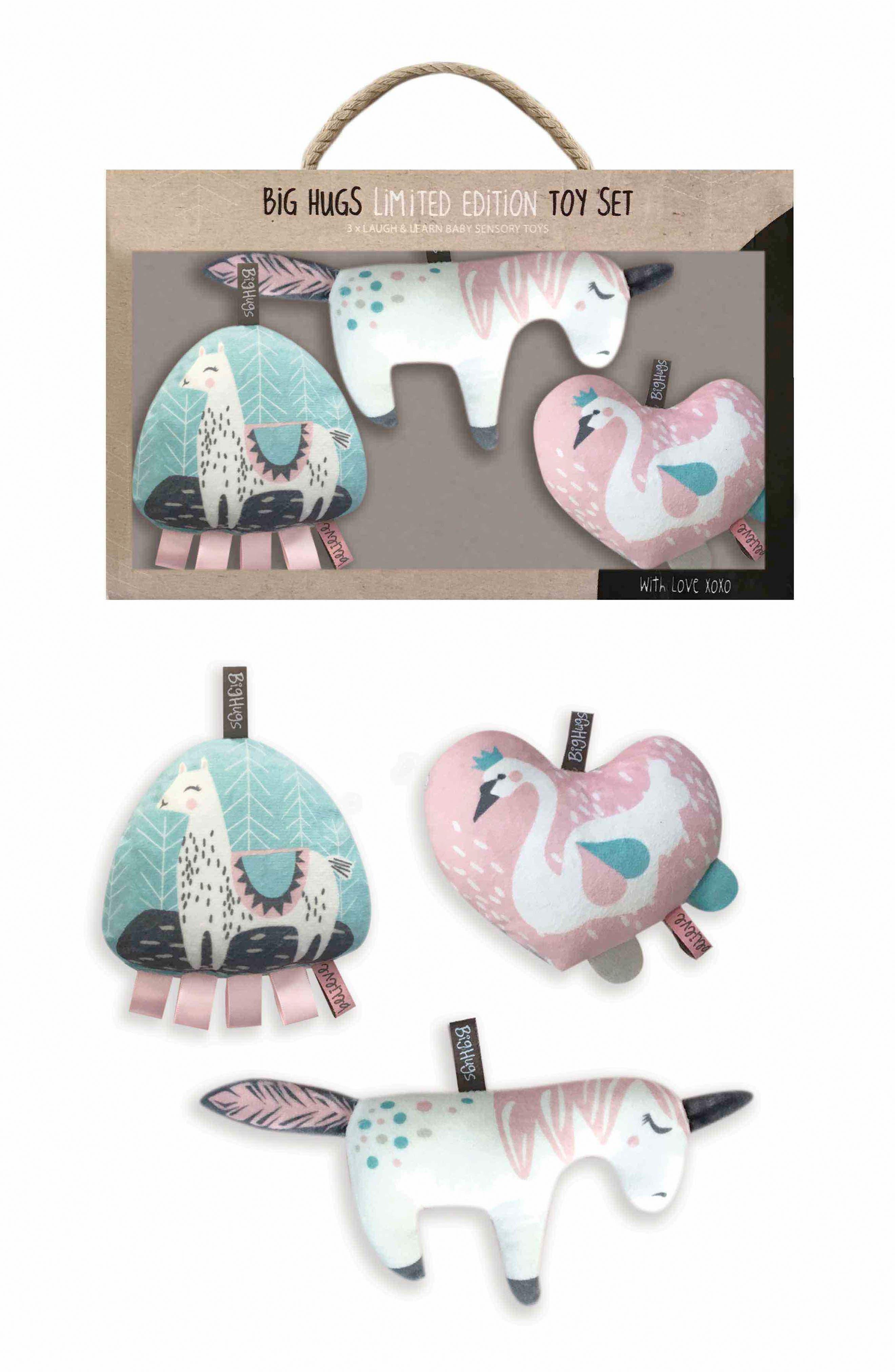 Sweet Romance Activity Plush Toys Set,                             Main thumbnail 1, color,                             PINK/ AQUA/ TAUPE