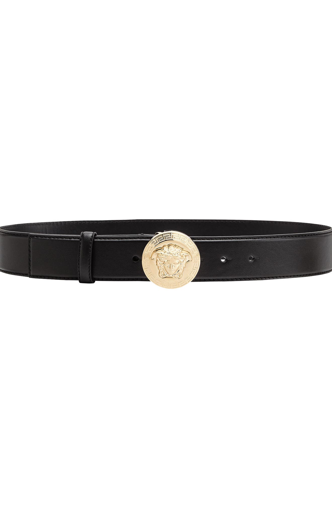 Versace First Line Medusa Coin Leather Belt, Nero/ Gold Tribute