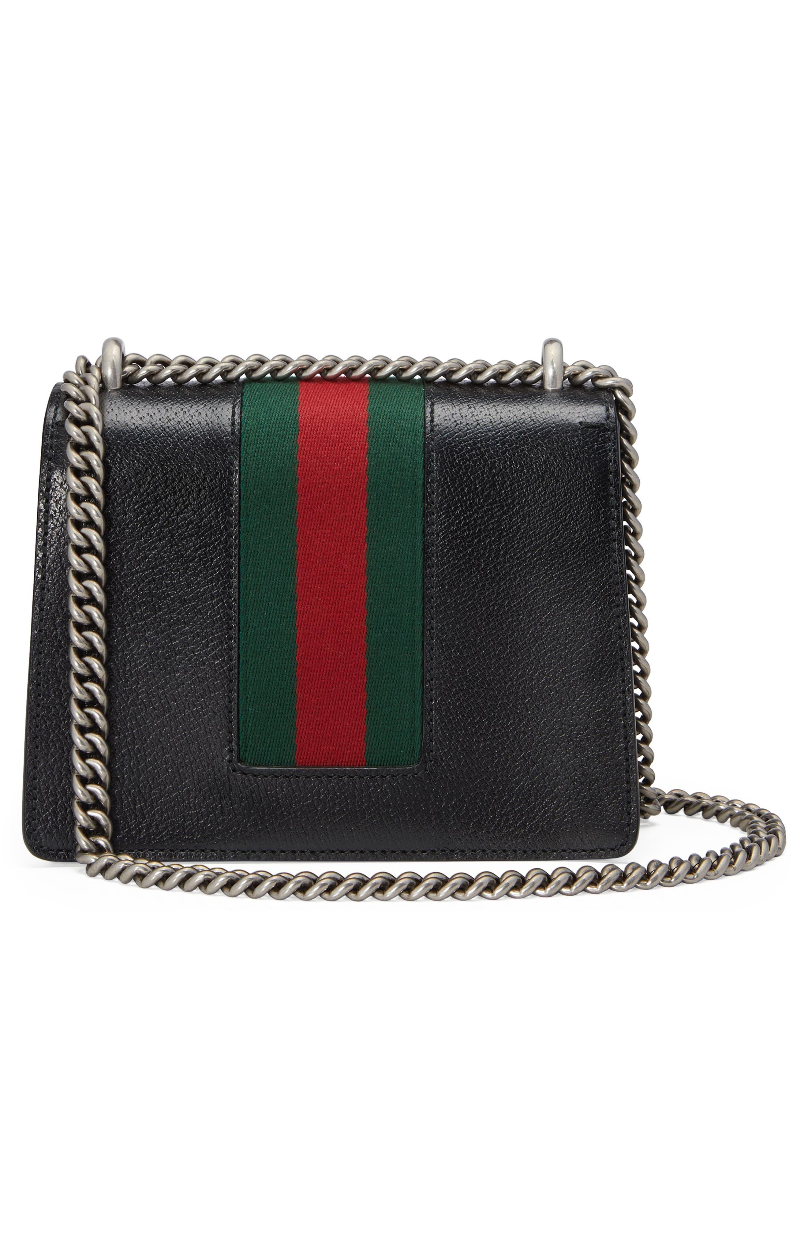 Small Dionysus House Web Leather Shoulder Bag,                             Alternate thumbnail 2, color,                             001