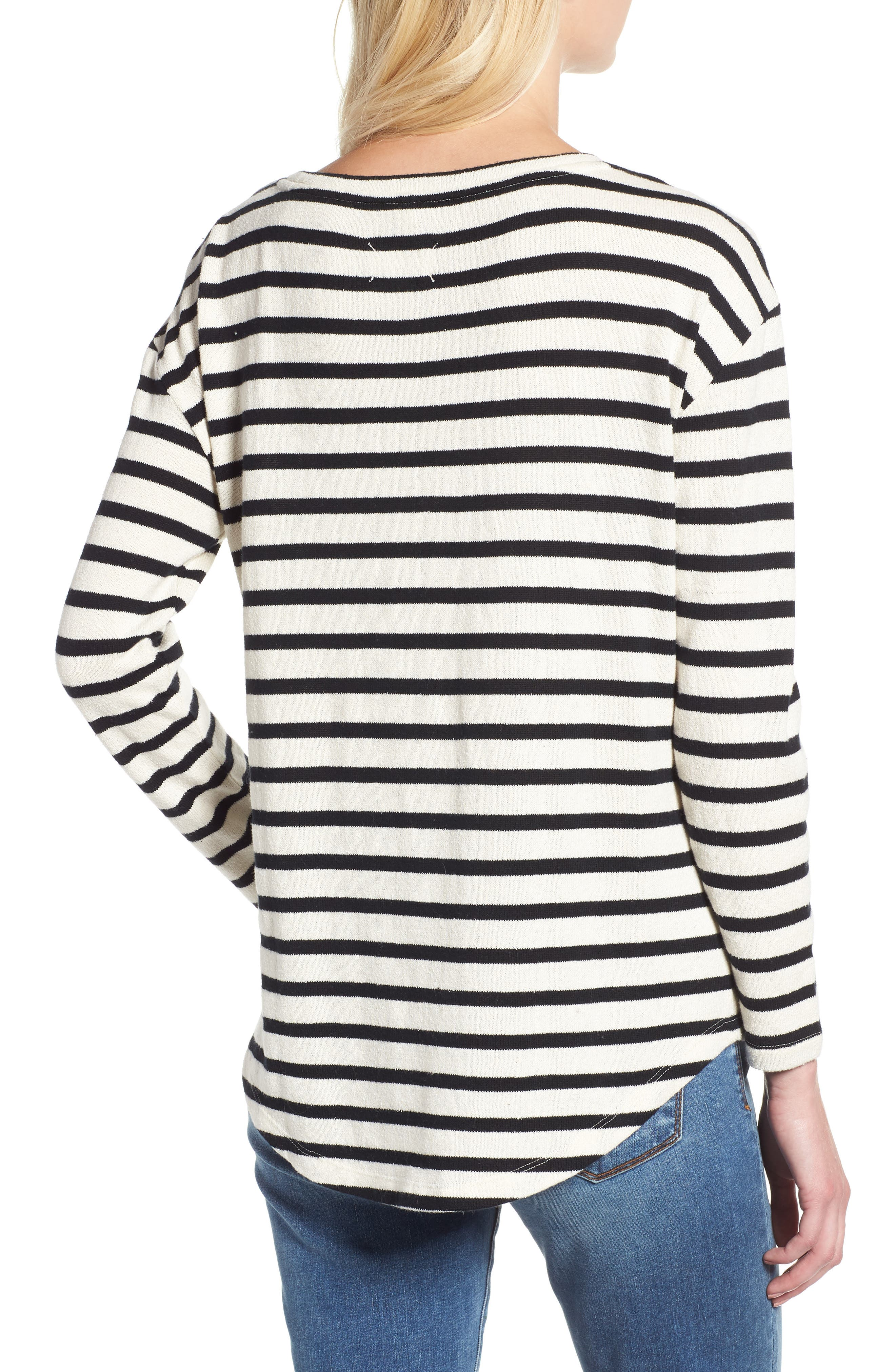 Stripe Shirttail Top,                             Alternate thumbnail 3, color,                             001