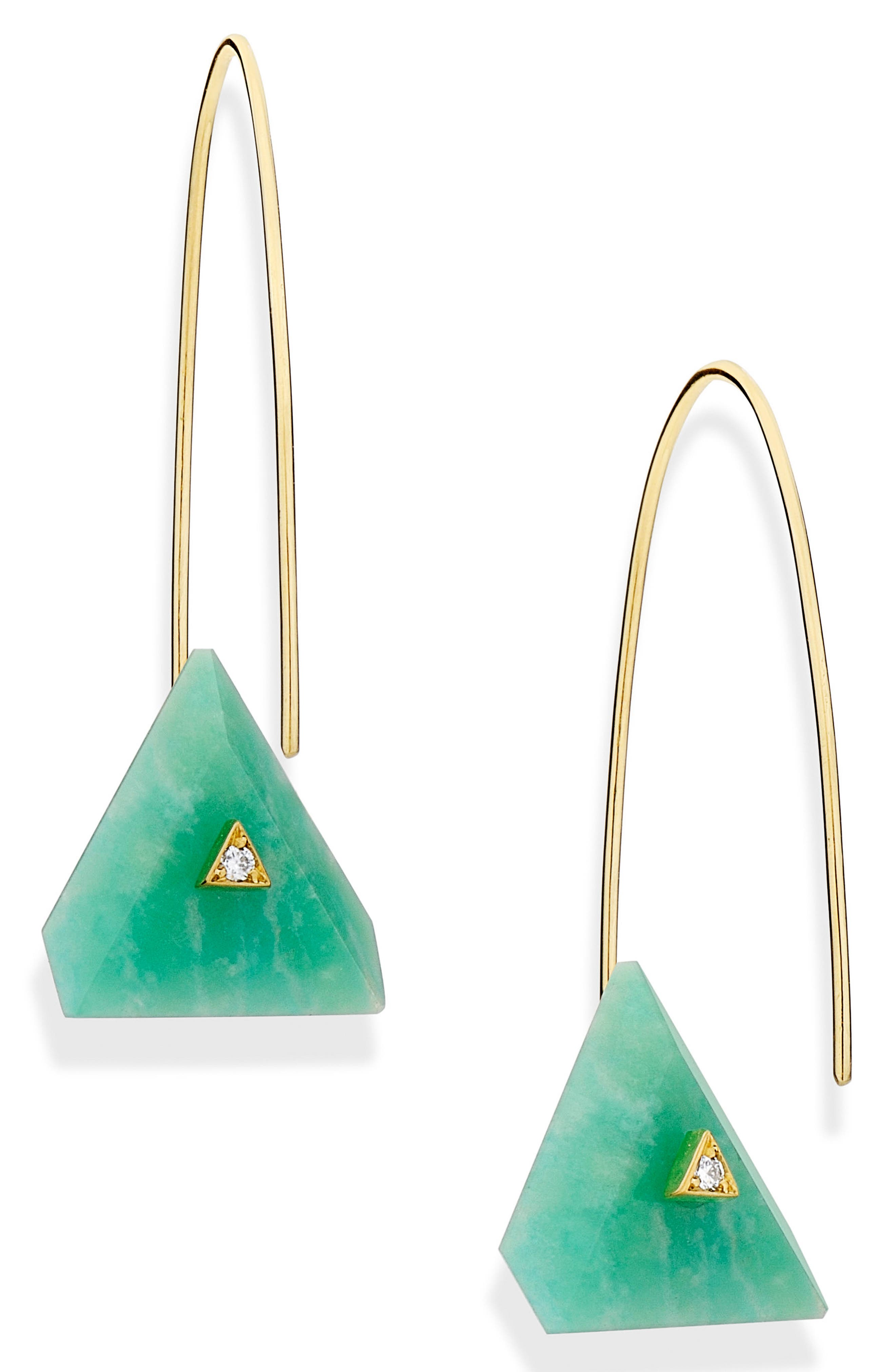 Reverse Fit Amazonite & Diamond Triangle Earrings,                             Main thumbnail 1, color,                             300