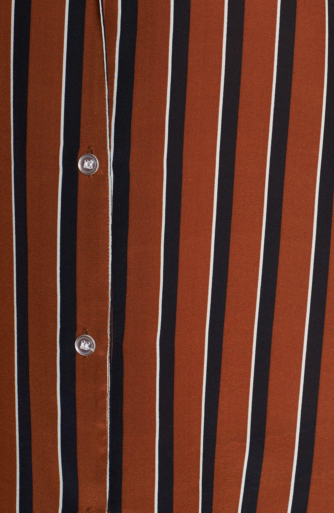 Fleur Striped Silk Pajama Top,                             Alternate thumbnail 5, color,                             TOBACCO STRIPE
