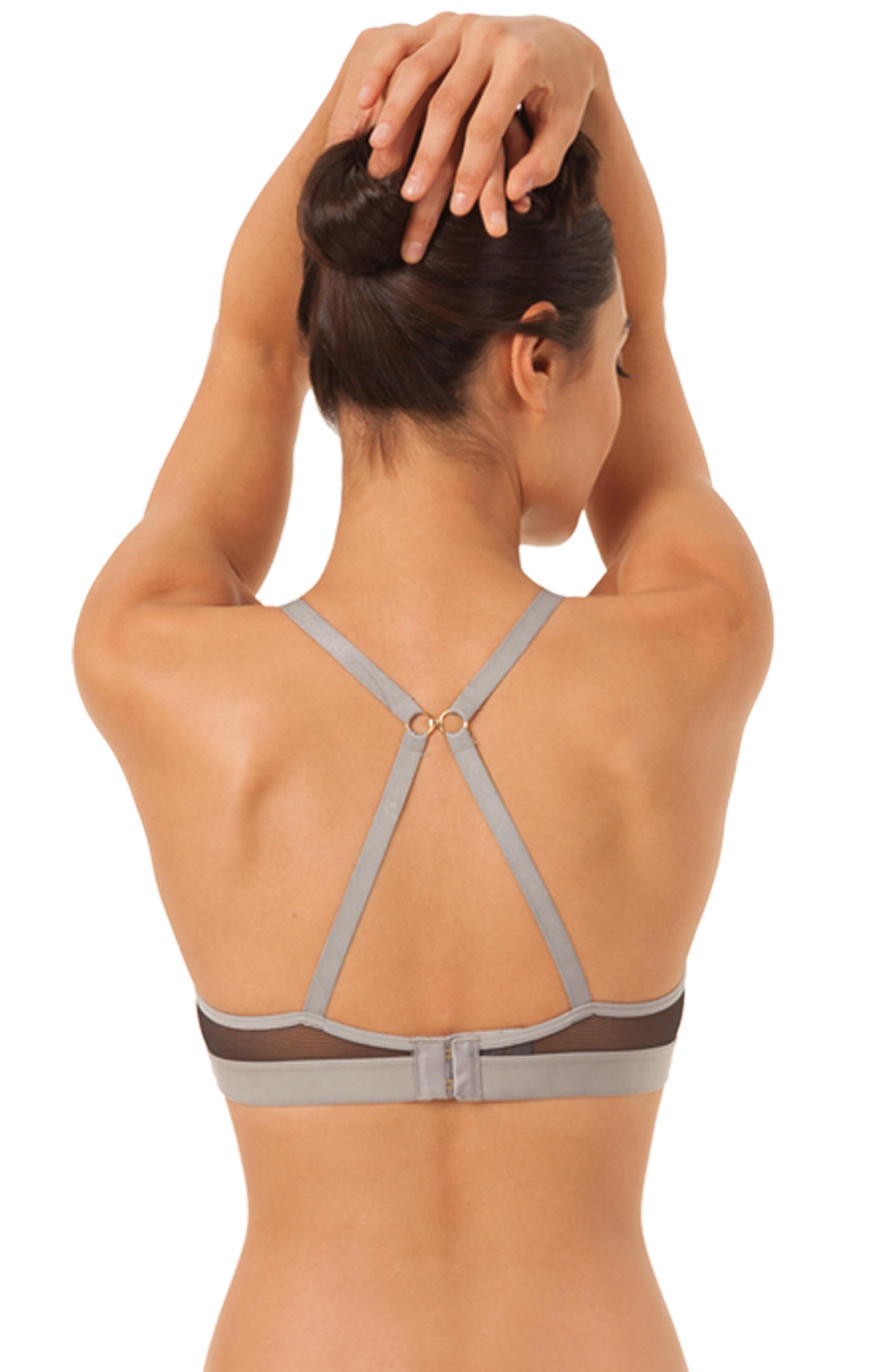 The All Day Deep-V No-Wire Colorblock Bra,                             Alternate thumbnail 2, color,                             HEATHER GREY JET BLACK