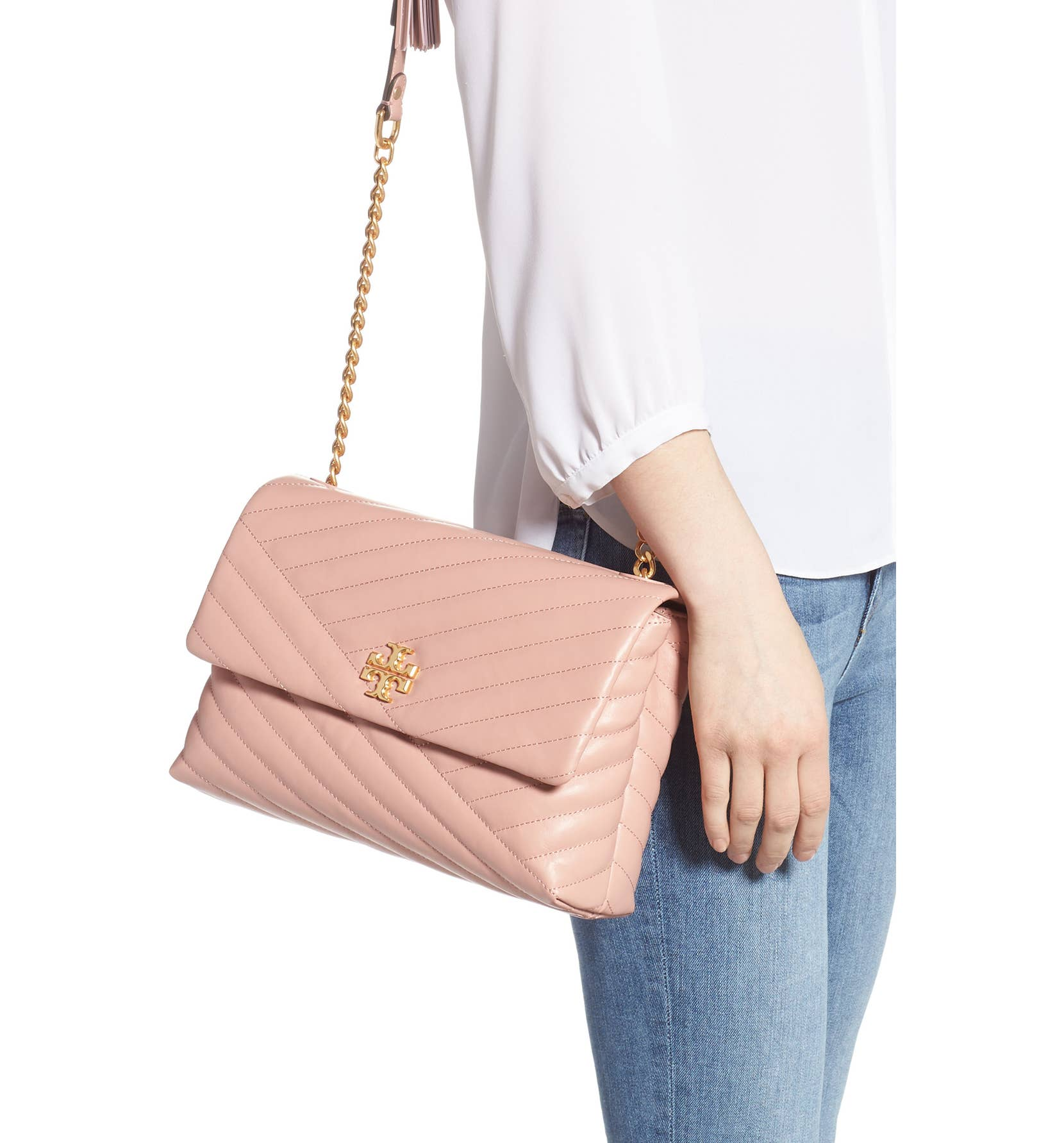 96bf4f8696c 472 TORY BURCH Kira Chevron Flap Shoulder Bag PINK MOON