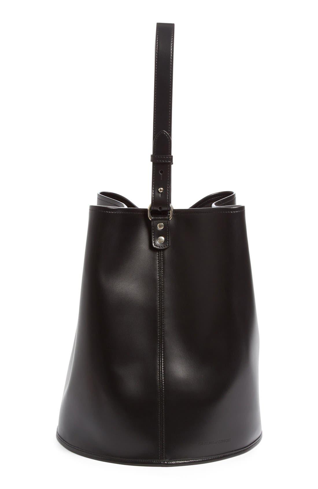 Large Calfskin Leather Bucket Bag,                             Alternate thumbnail 4, color,                             001
