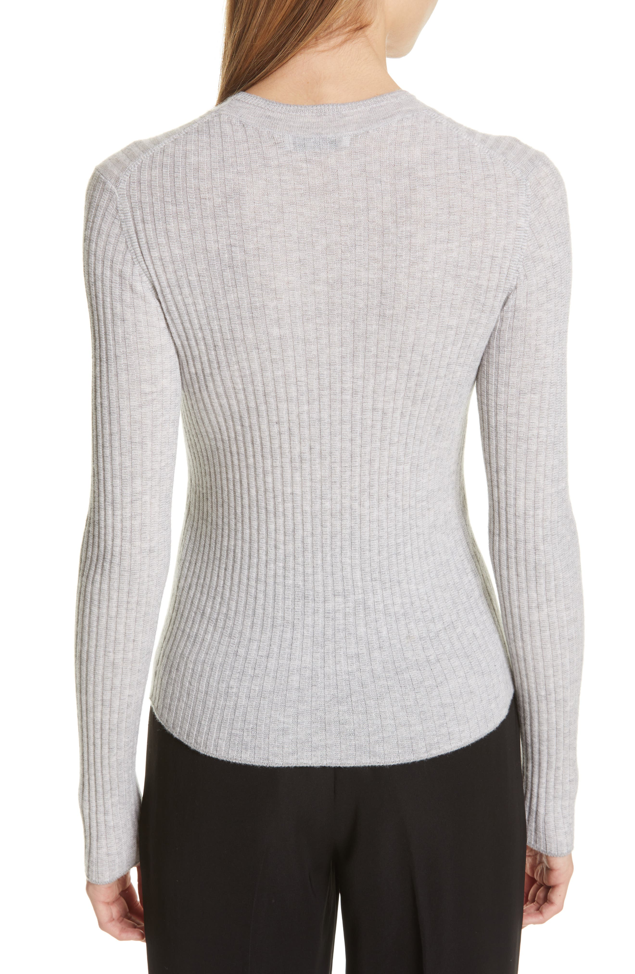 Mixed Rib Stitch Sweater,                             Alternate thumbnail 2, color,                             H STEEL/ OFF WHITE