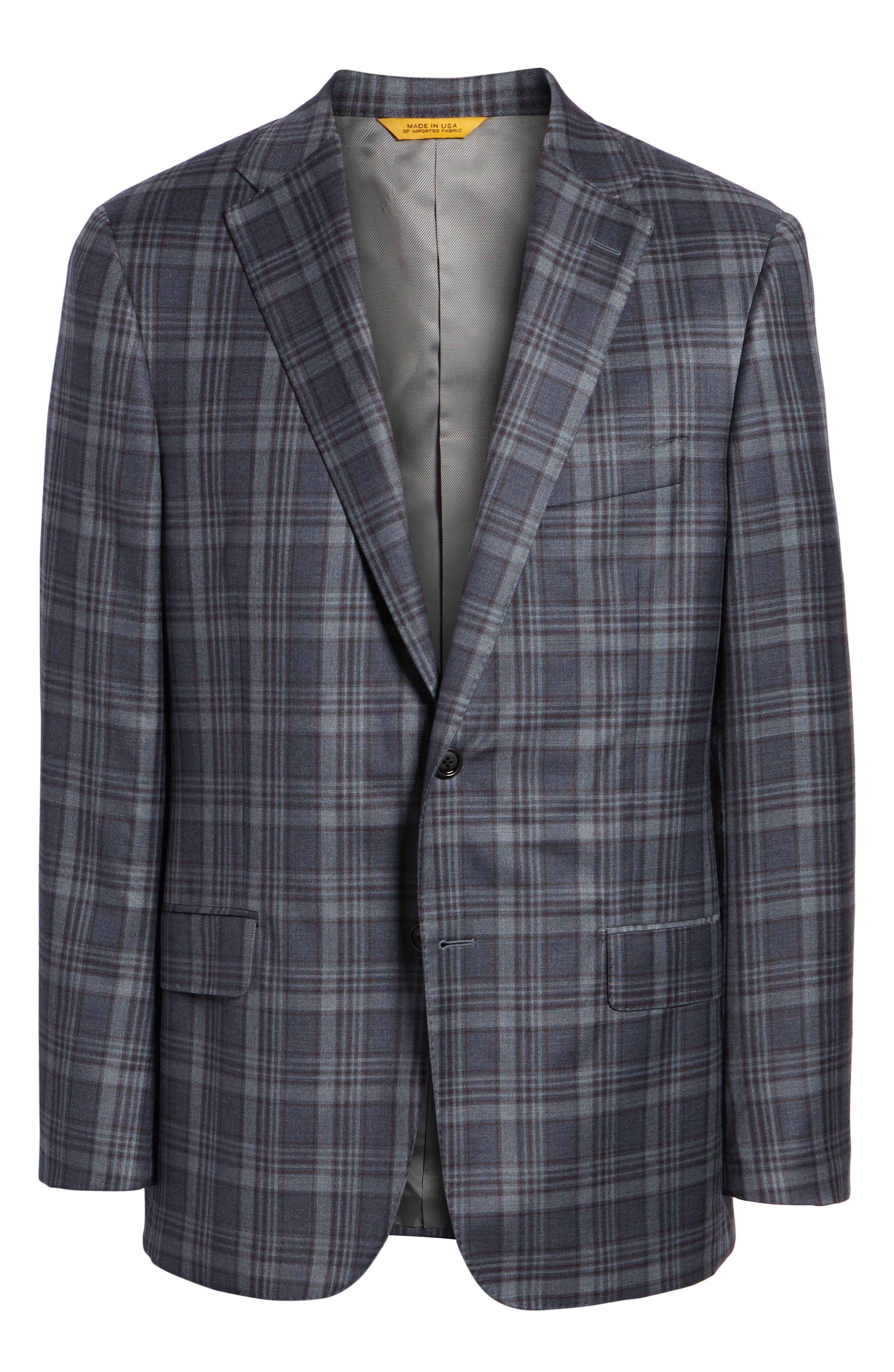 Classic Fit Plaid Wool Sport Coat,                             Alternate thumbnail 5, color,                             BLUE