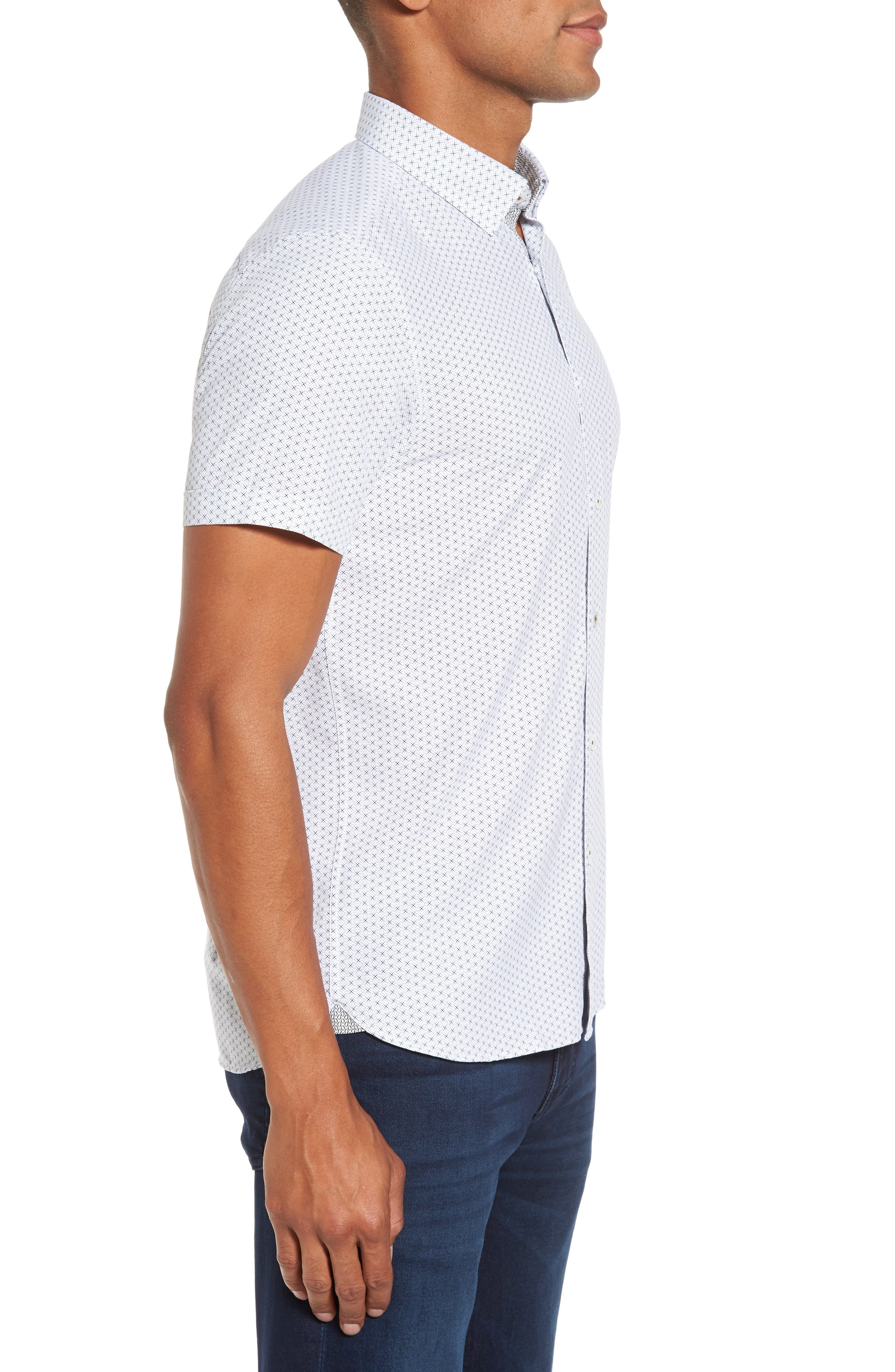 Geo Polynosic Slim Fit Woven Shirt,                             Alternate thumbnail 3, color,                             110