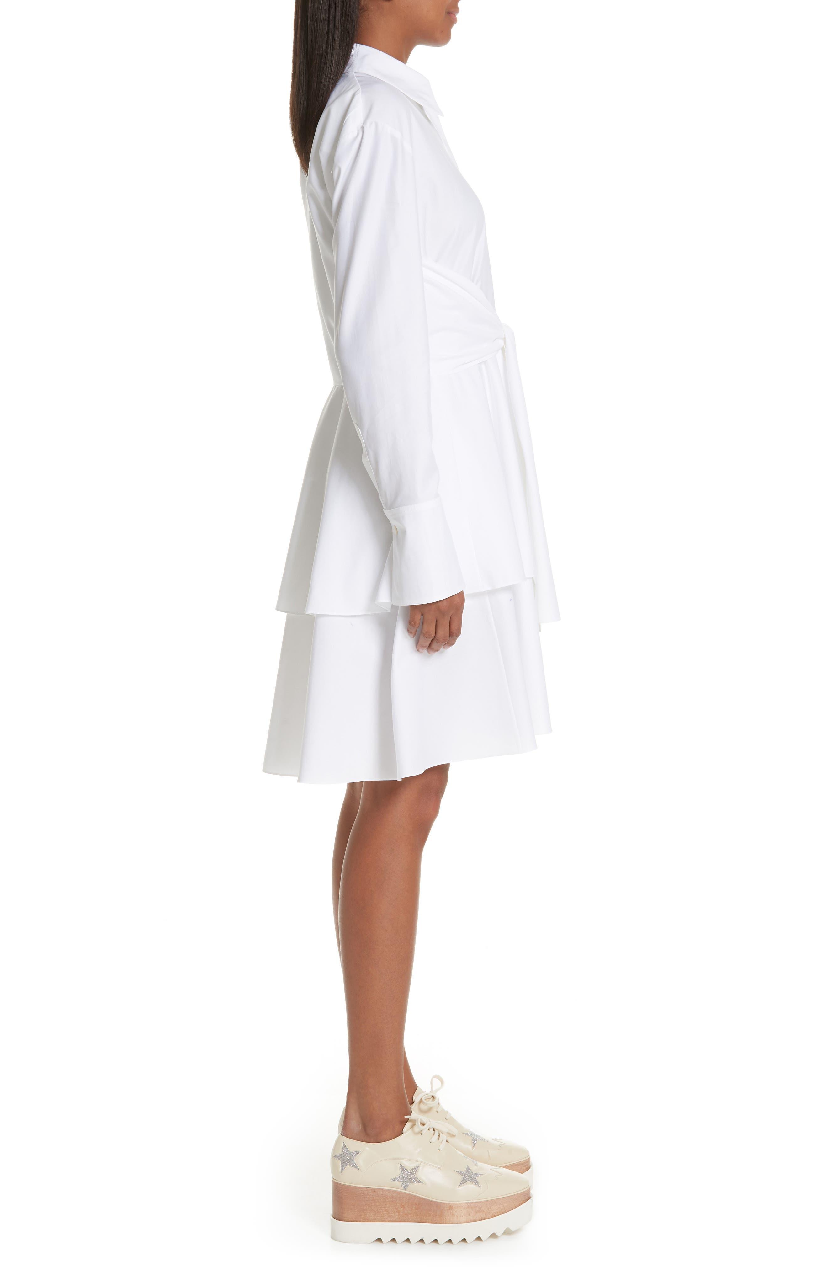 Tie Waist Tiered Poplin Dress,                             Alternate thumbnail 3, color,                             PURE WHITE