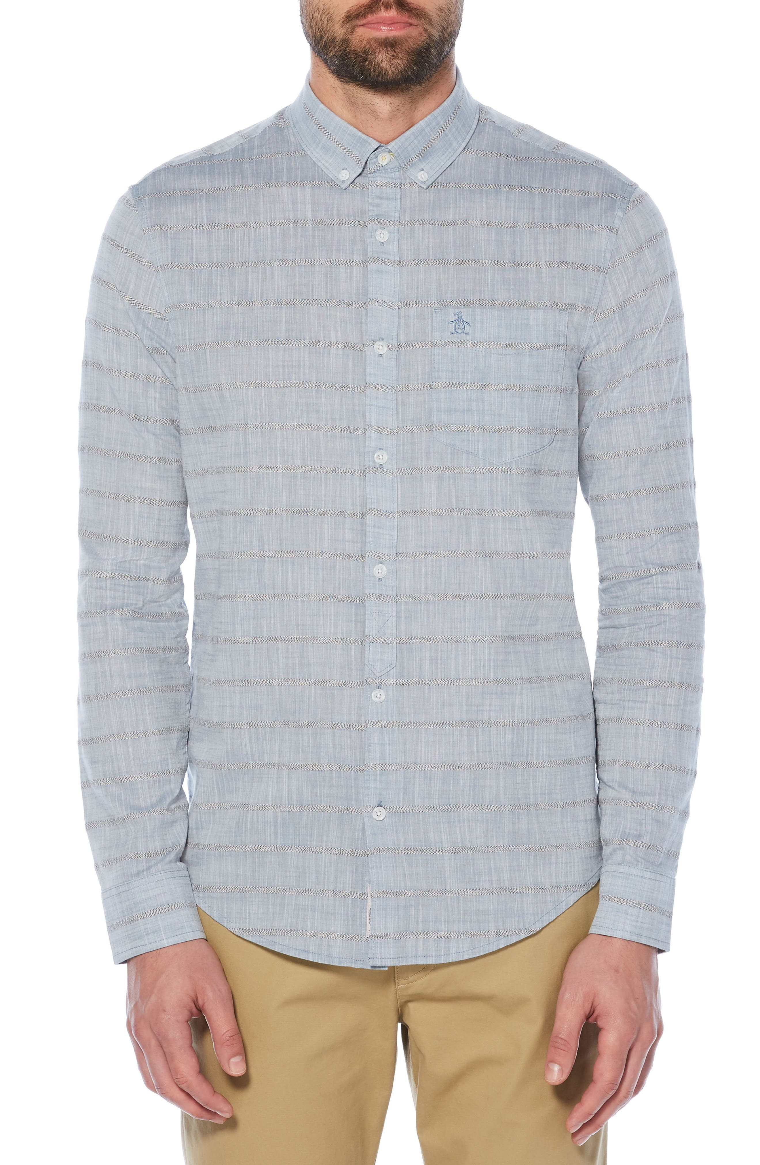 Stripe Slub Chambray Shirt,                             Main thumbnail 1, color,                             400