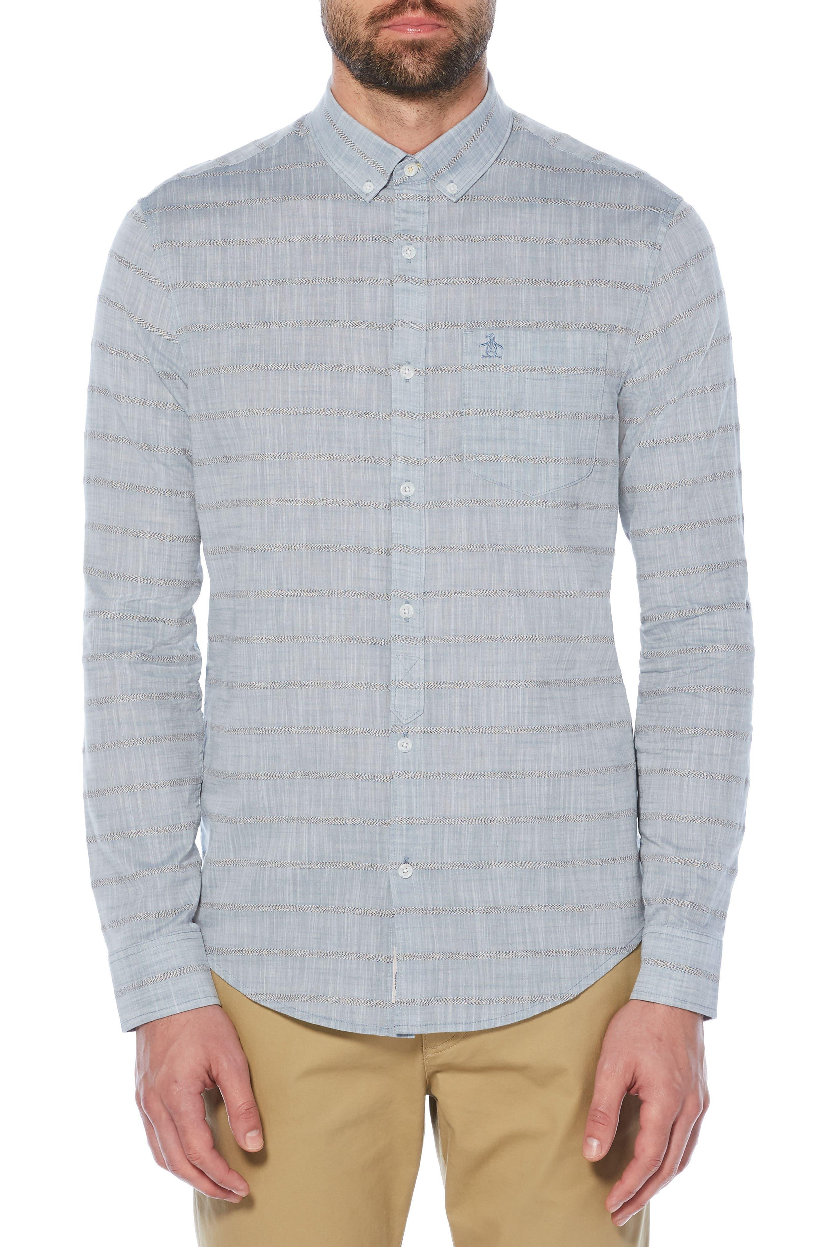 Stripe Slub Chambray Shirt,                         Main,                         color, 400
