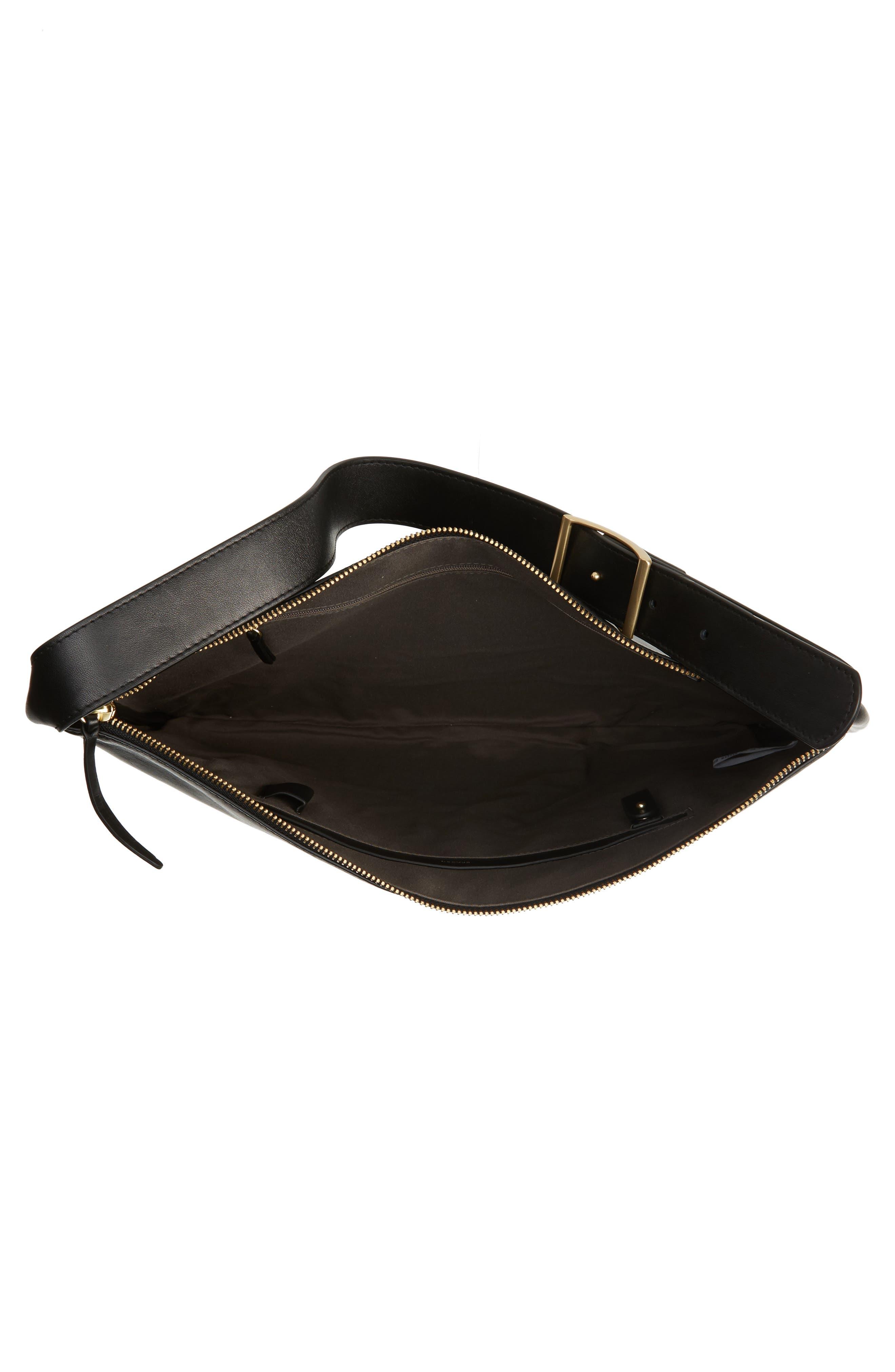 Anesa Leather Shoulder Bag,                             Alternate thumbnail 4, color,                             001