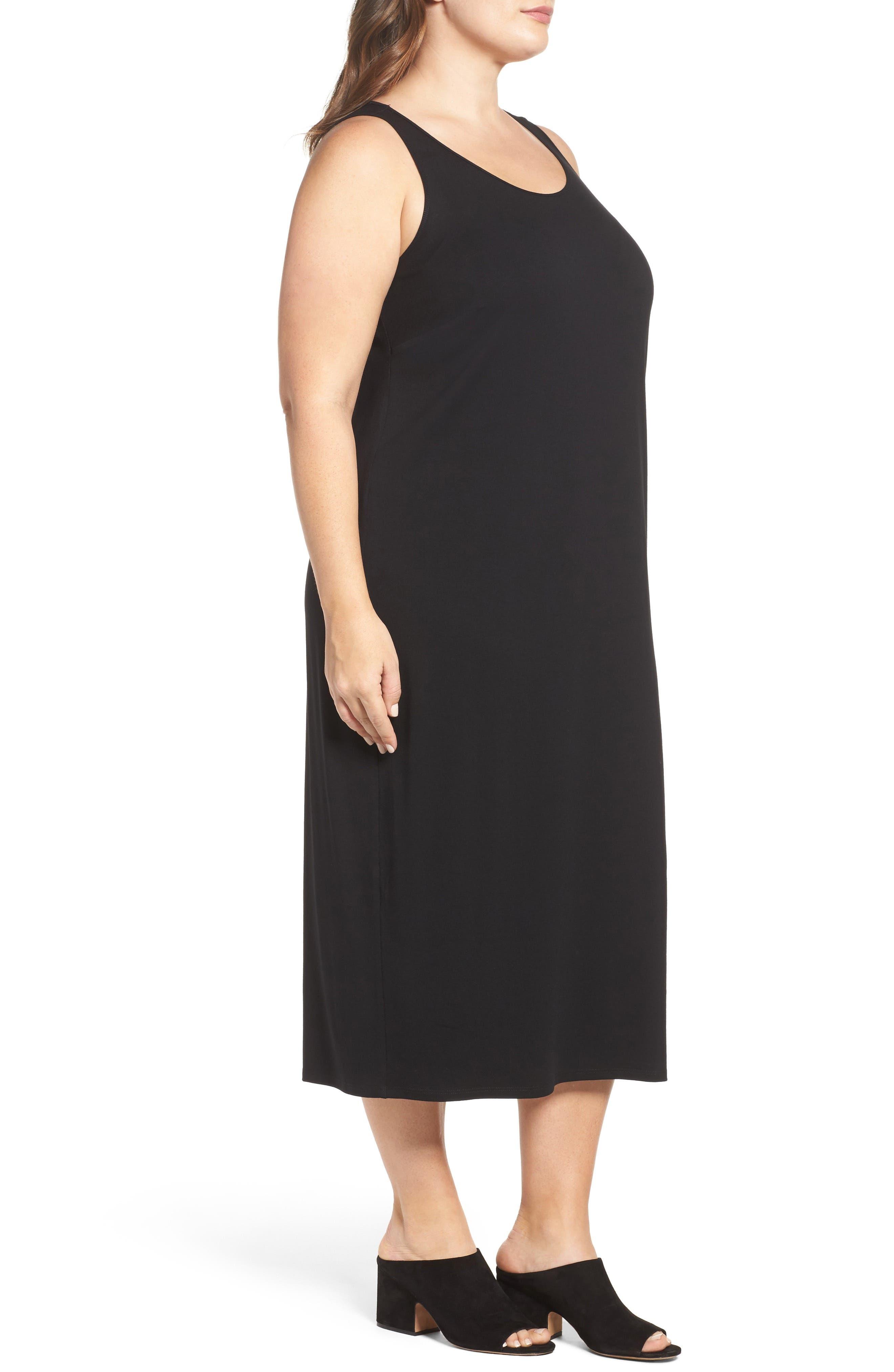 Jersey Midi Dress,                             Alternate thumbnail 3, color,                             BLACK