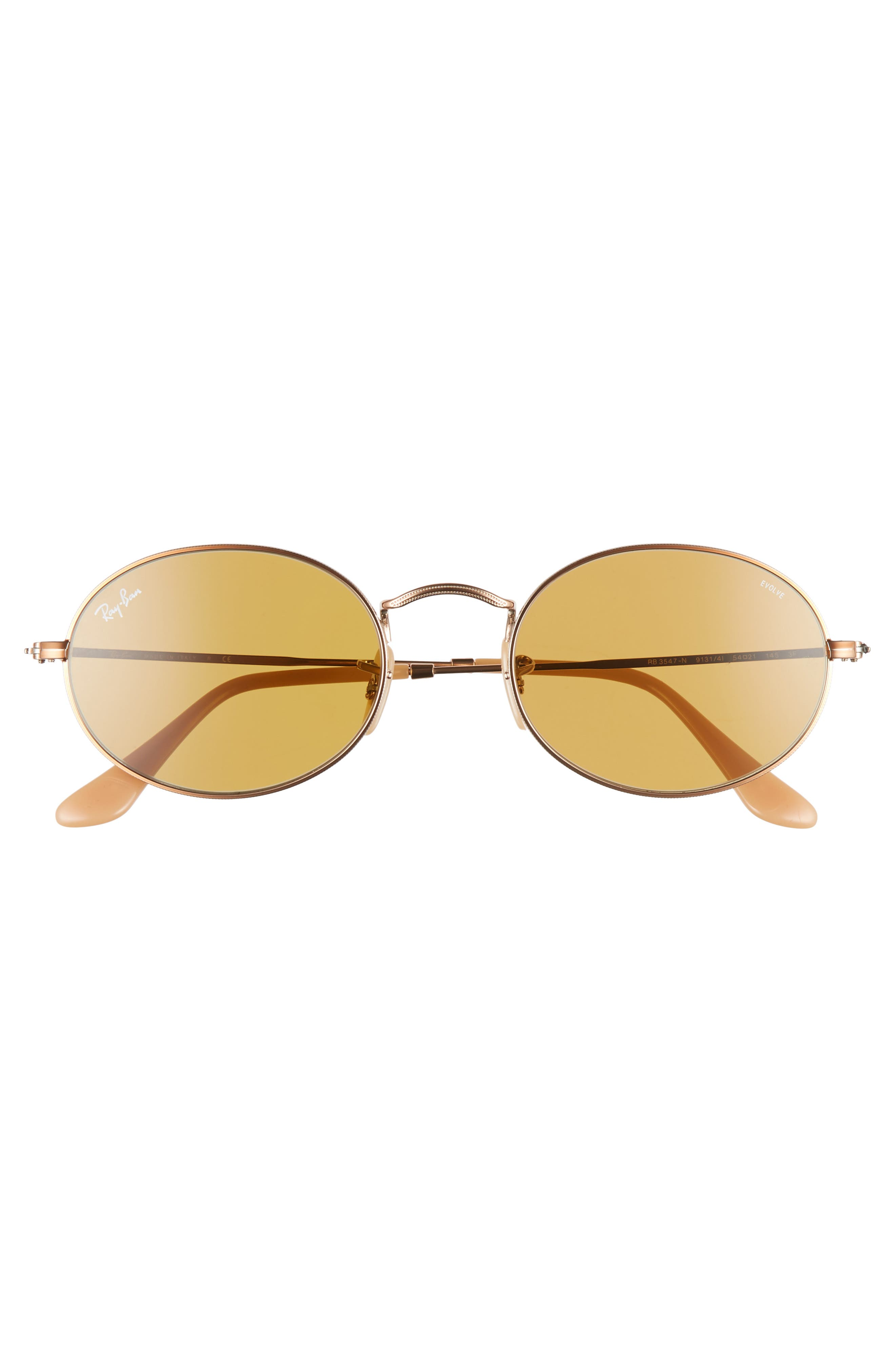 RAY-BAN,                             Evolve 54mm Polarized Oval Sunglasses,                             Alternate thumbnail 3, color,                             GOLD/ COPPER SOLID