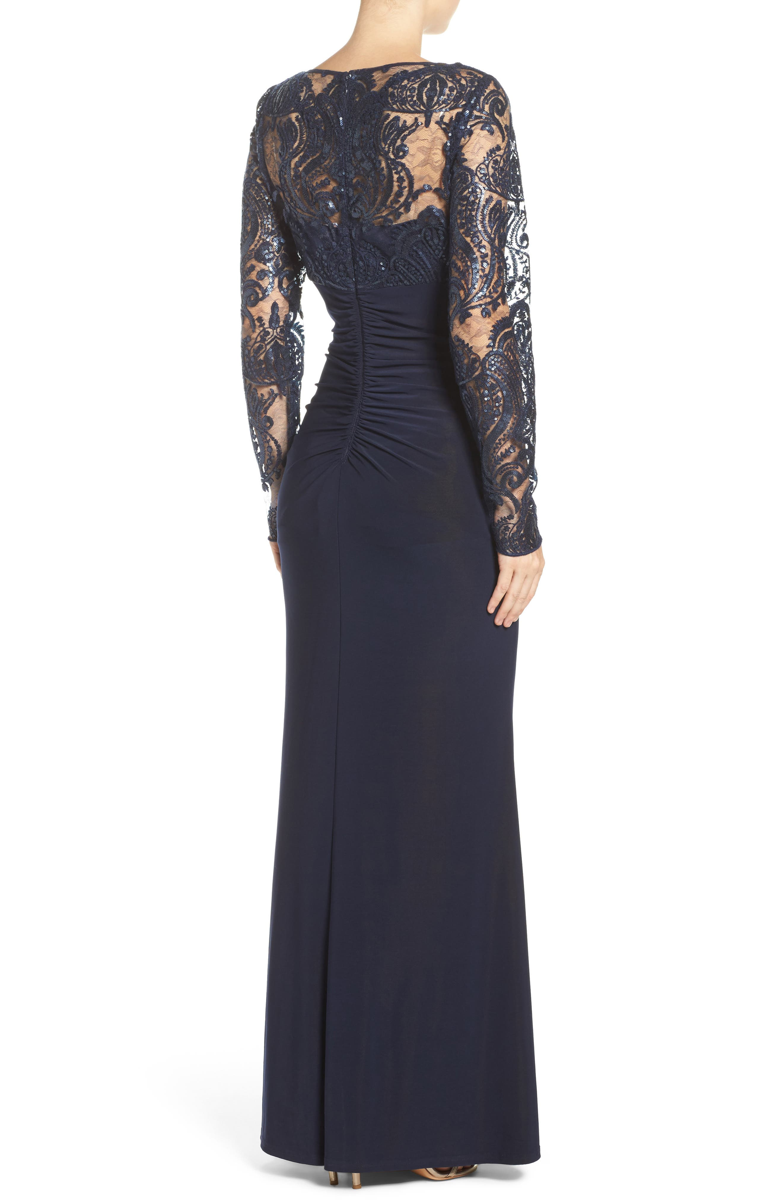 Draped Long Sleeve Gown,                             Alternate thumbnail 3, color,                             410