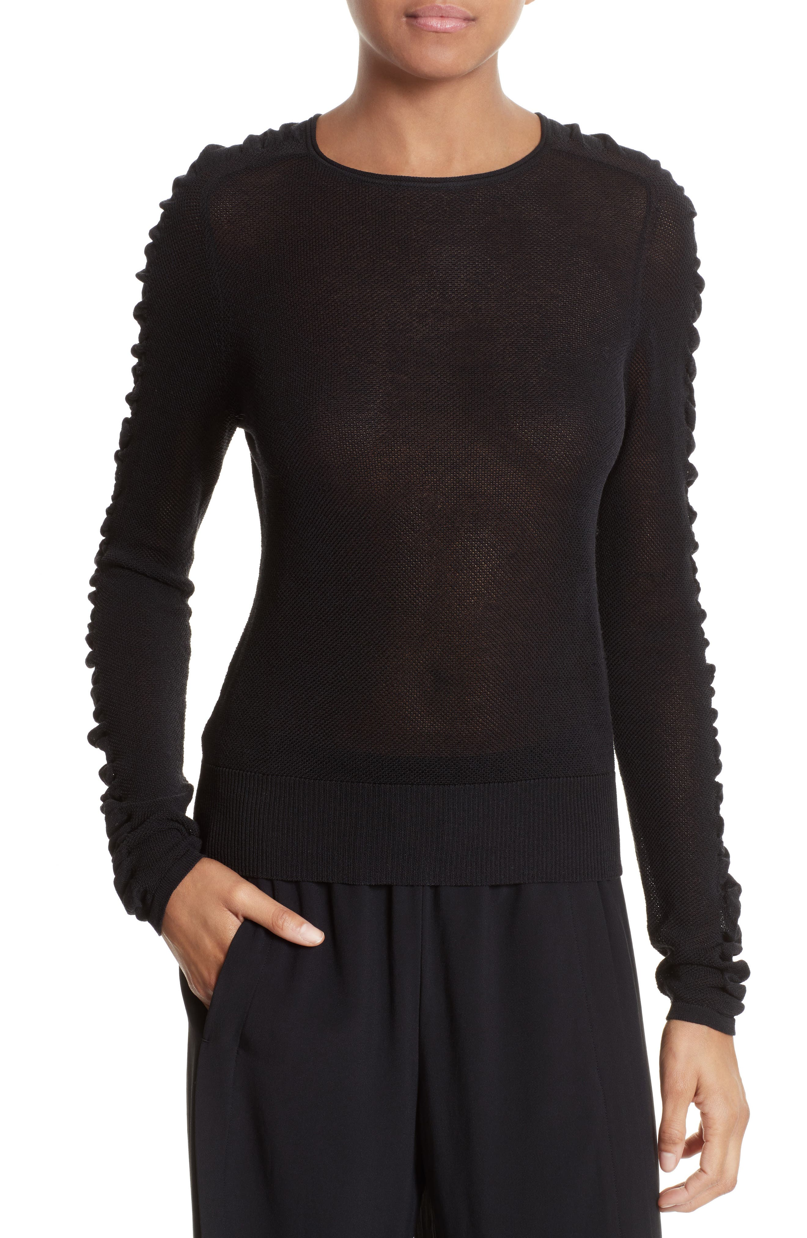 Shirred Silk Blend Pullover,                         Main,                         color, 001