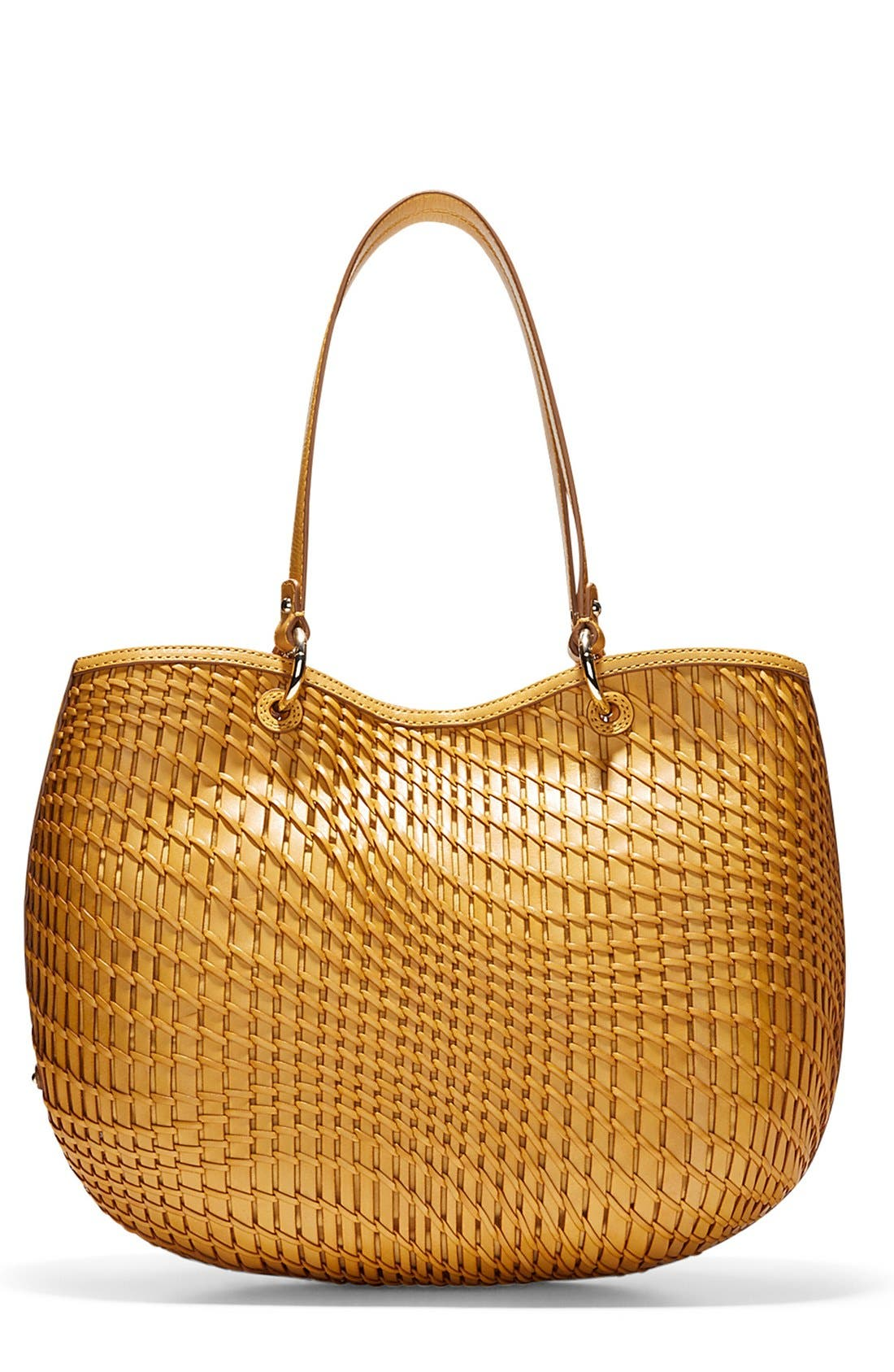 'Genevieve - Small' Open Weave Leather Tote, Main, color, 200