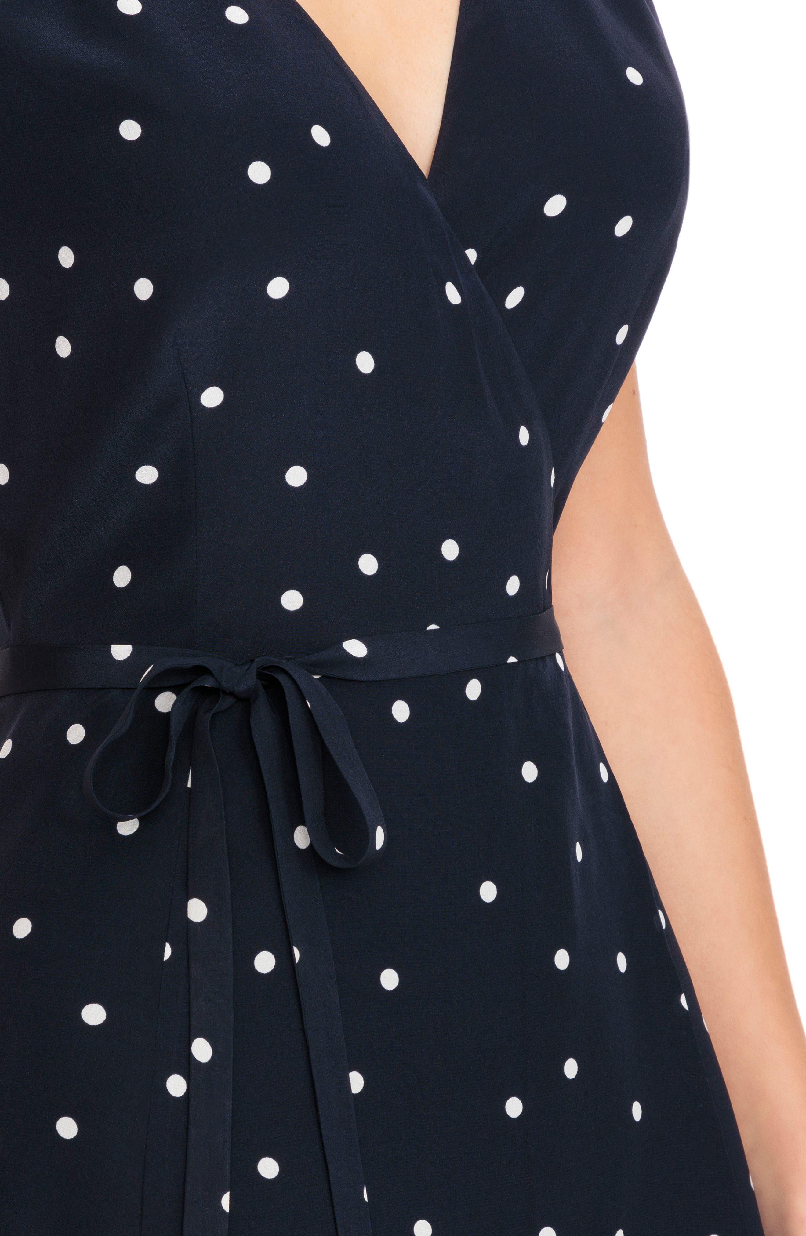 Anastasia Silk Wrap Dress,                             Alternate thumbnail 4, color,                             400