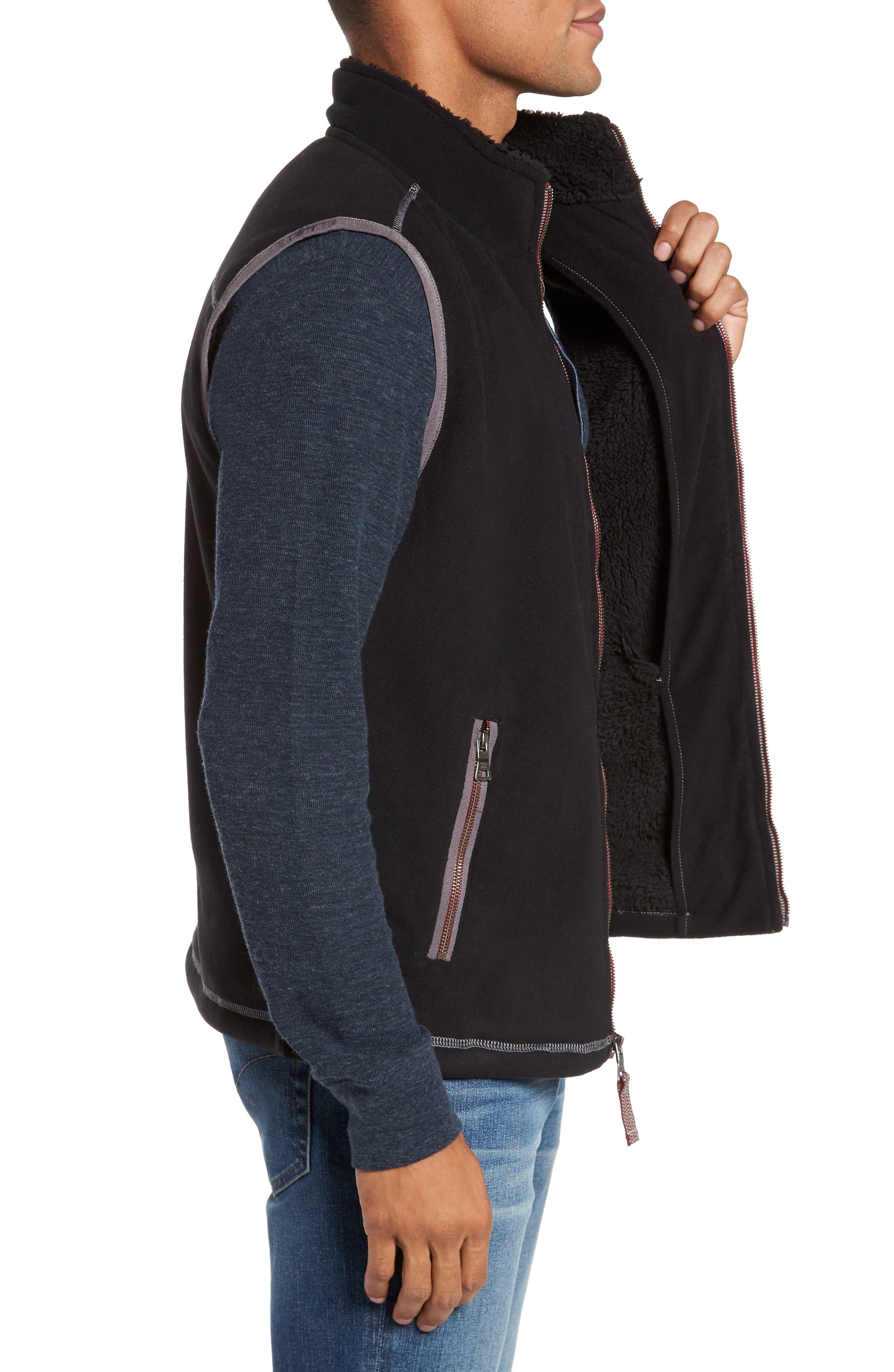 Bonded Fleece Zip Front Vest,                             Alternate thumbnail 3, color,                             001