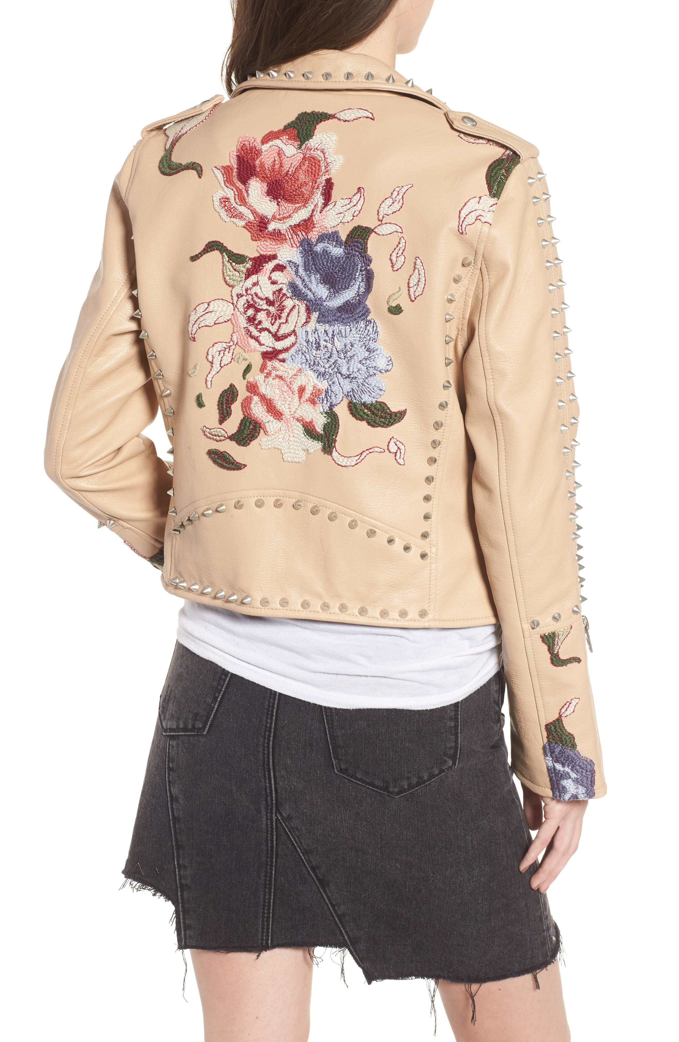Embellished Faux Leather Moto Jacket,                             Alternate thumbnail 2, color,                             250
