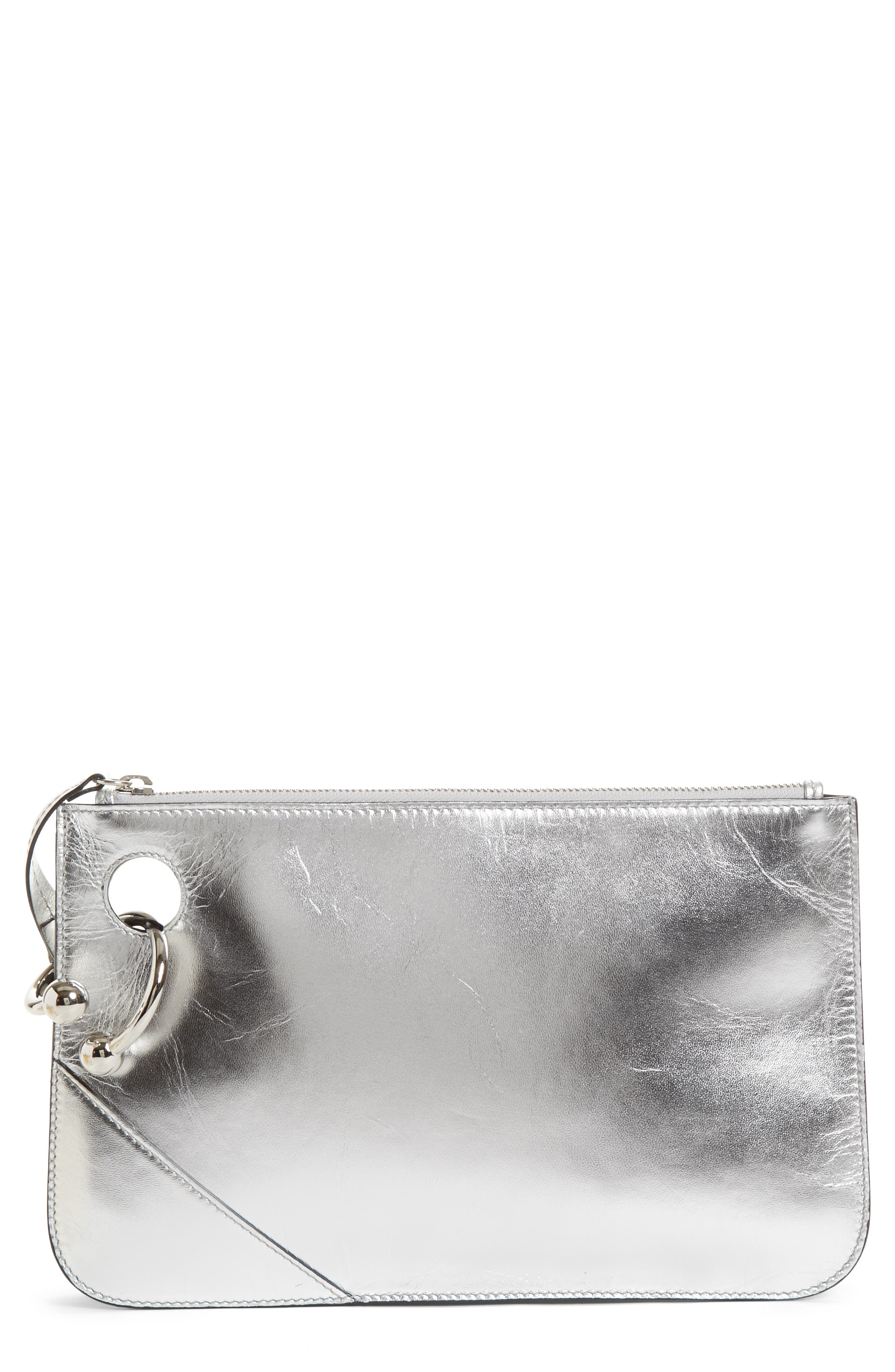 J.W.ANDERSON Pierce Metallic Leather Clutch,                         Main,                         color, 040