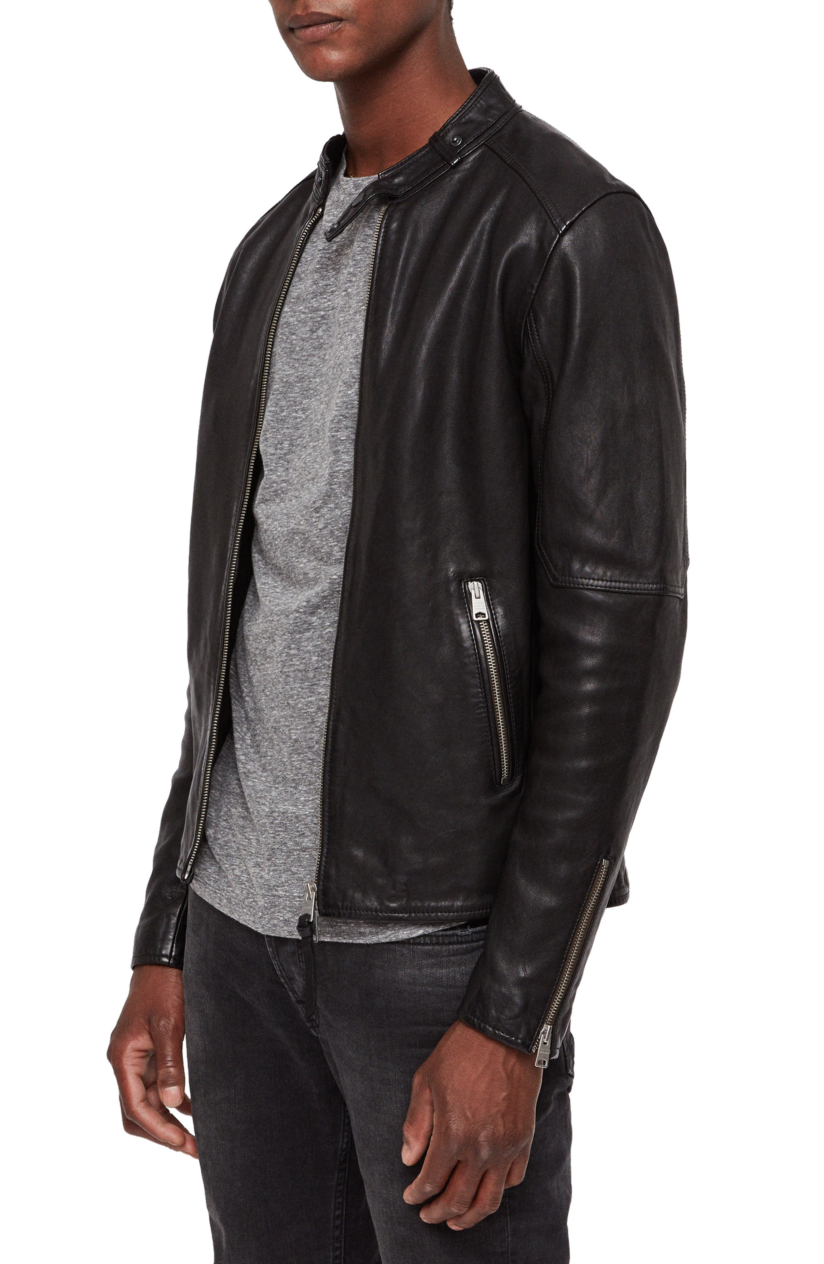 Cora Leather Jacket,                             Alternate thumbnail 3, color,                             003