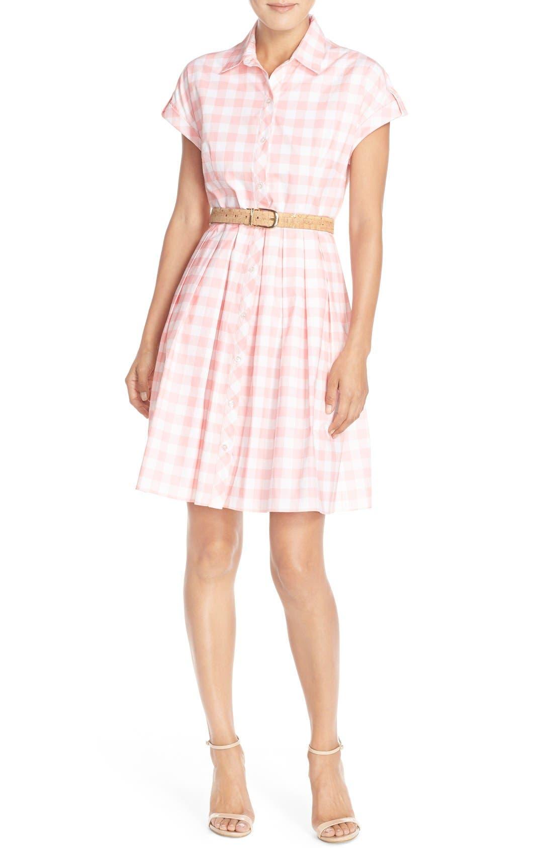 ELIZA J,                             Check Cotton Poplin Shirtdress,                             Alternate thumbnail 2, color,                             660