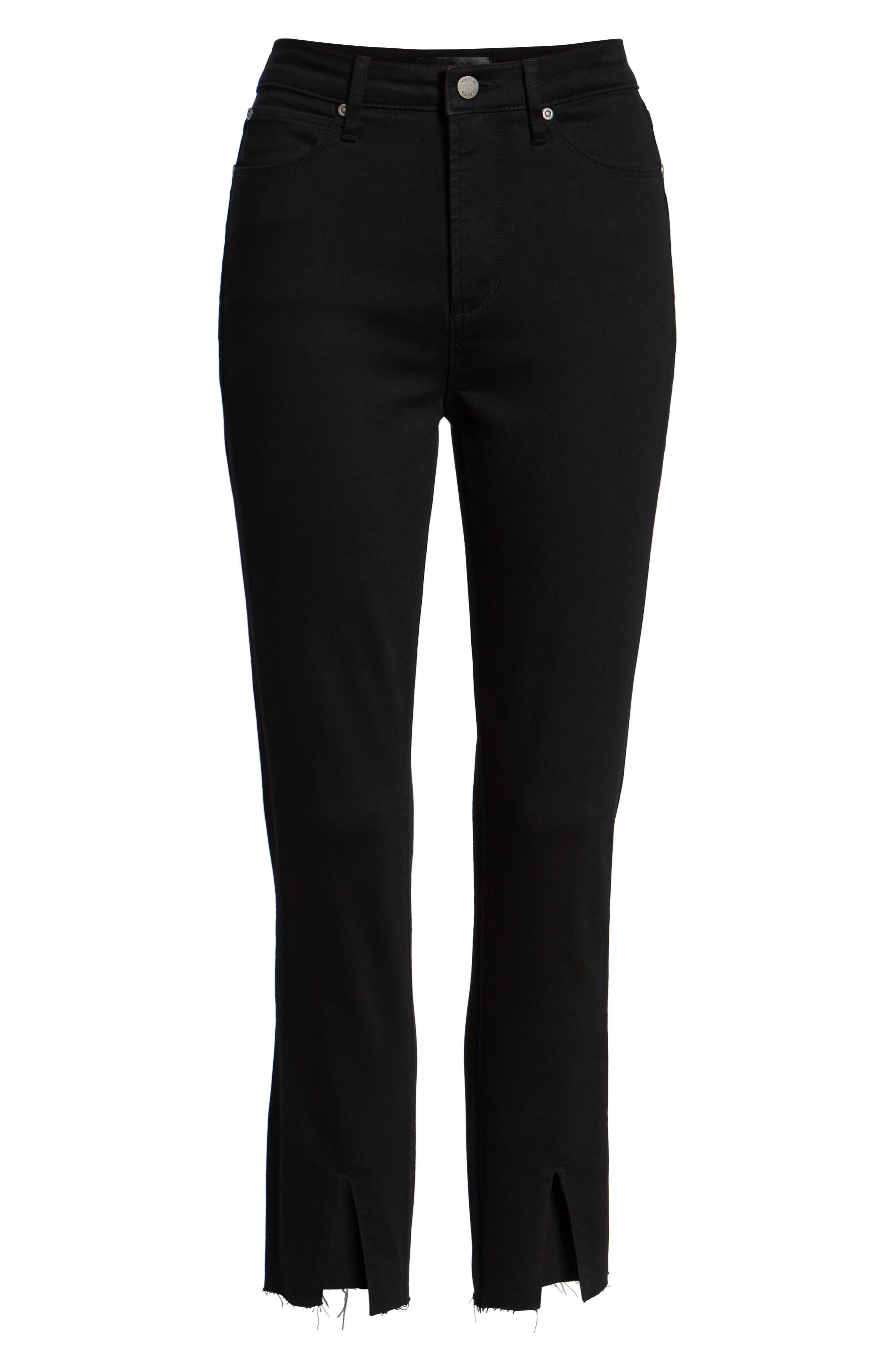 LEITH,                             High Waist Split Hem Skinny Jeans,                             Alternate thumbnail 7, color,                             001