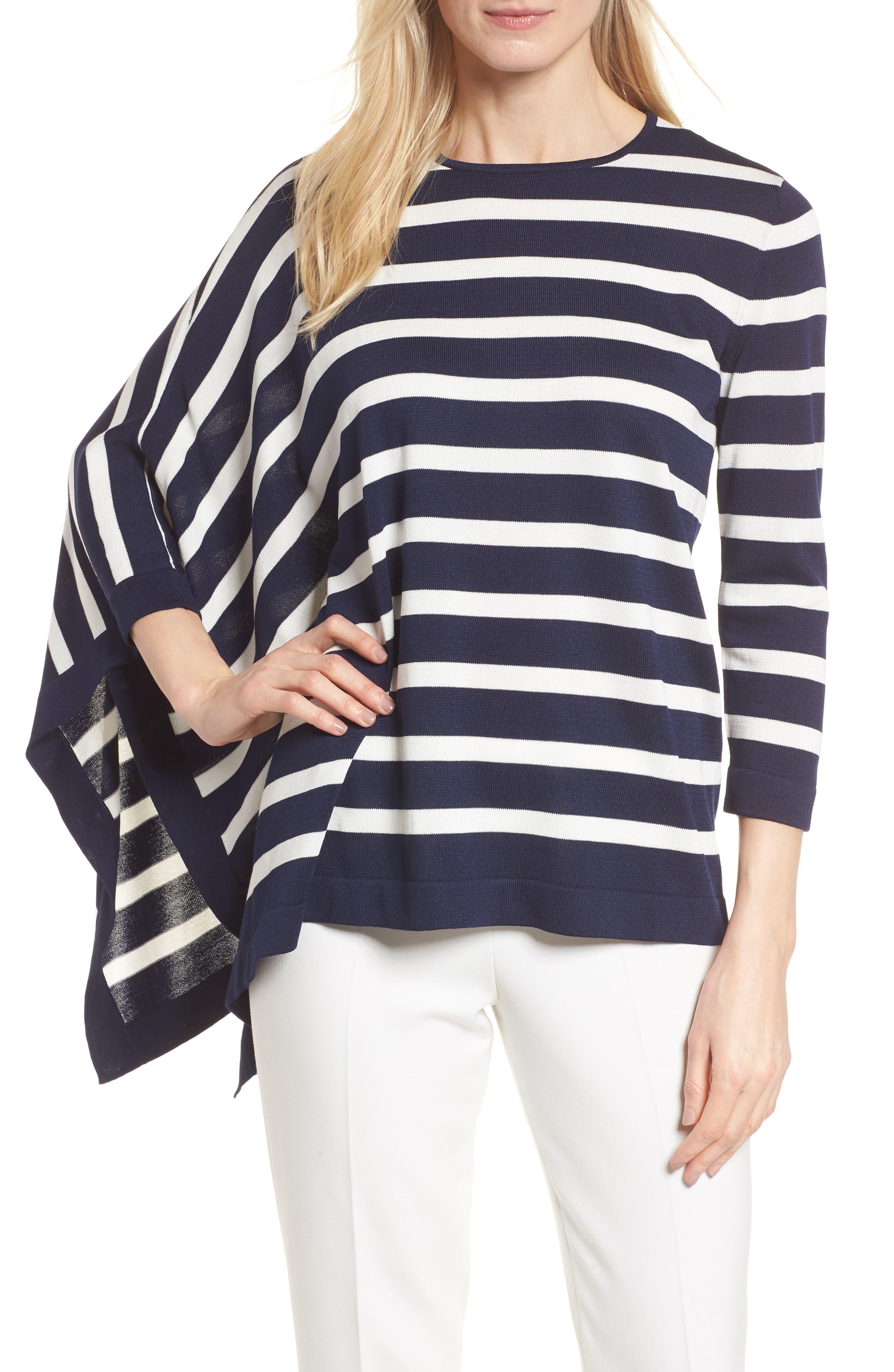 Asymmetrical Striped Sweater,                             Main thumbnail 2, color,