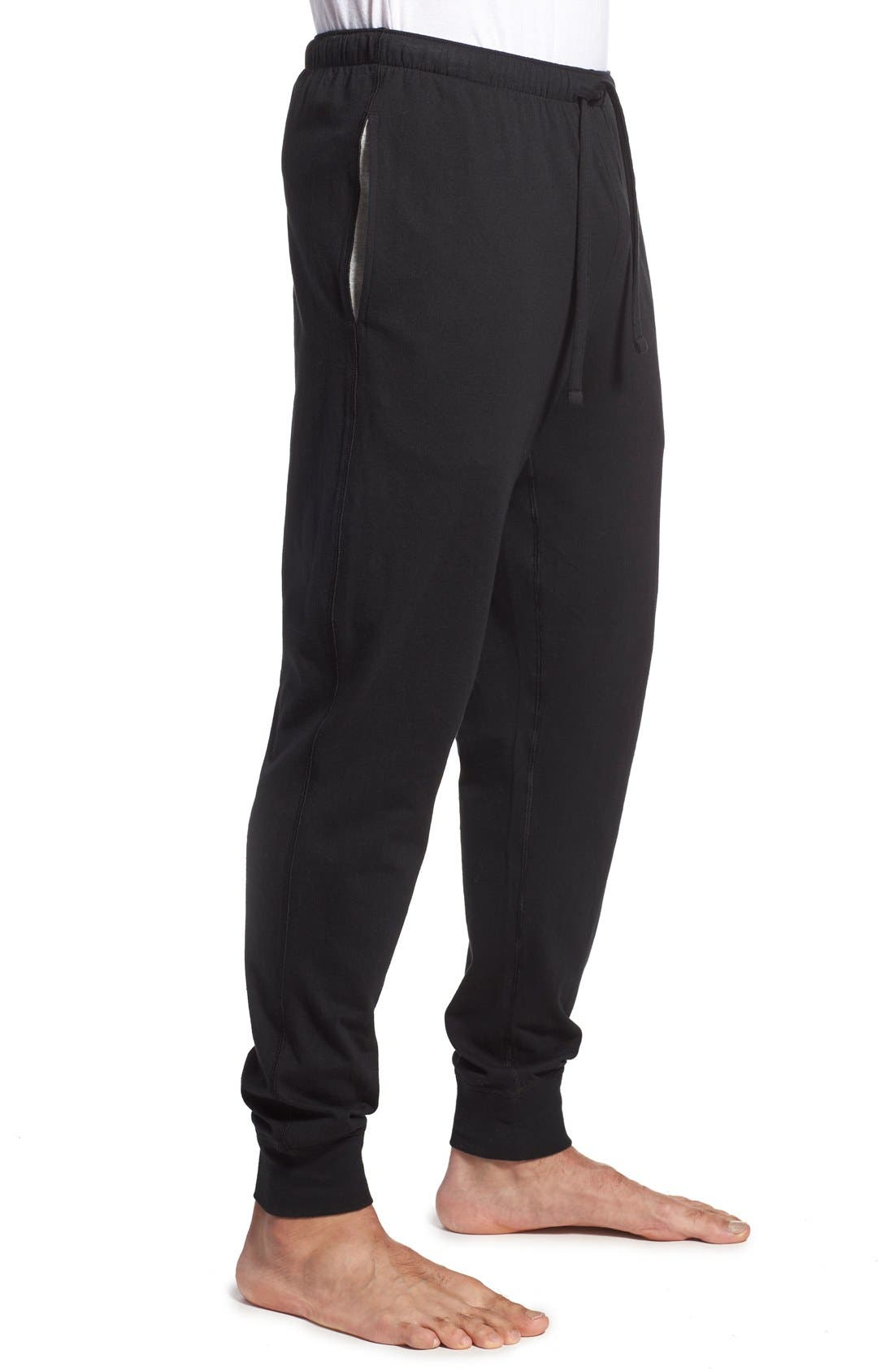 Relaxed Fit Cotton Knit Lounge Jogger Pants,                             Alternate thumbnail 4, color,                             BLACK