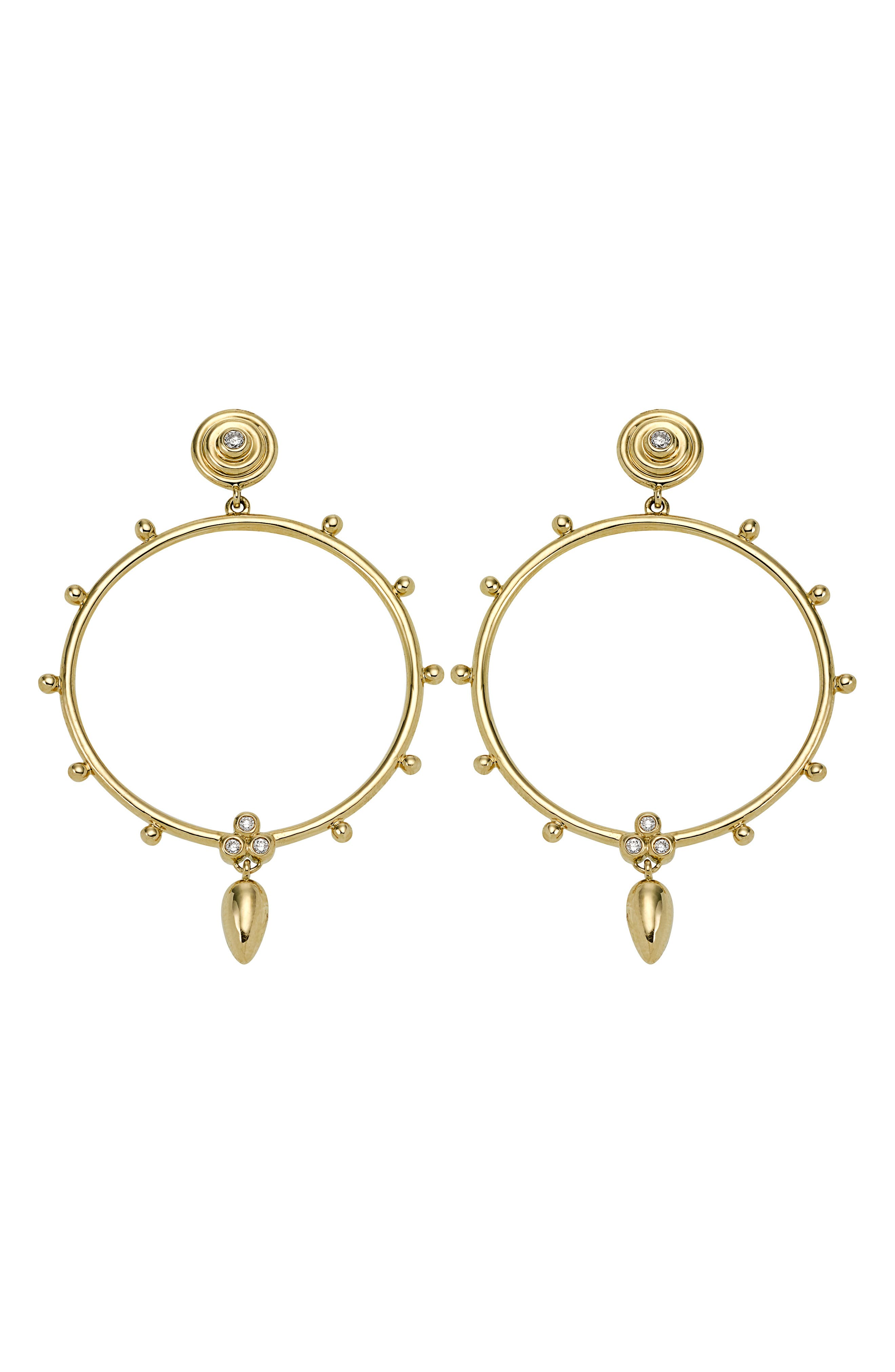 18K Gold & Diamond Circle Anfora Earrings,                         Main,                         color, YELLOW GOLD