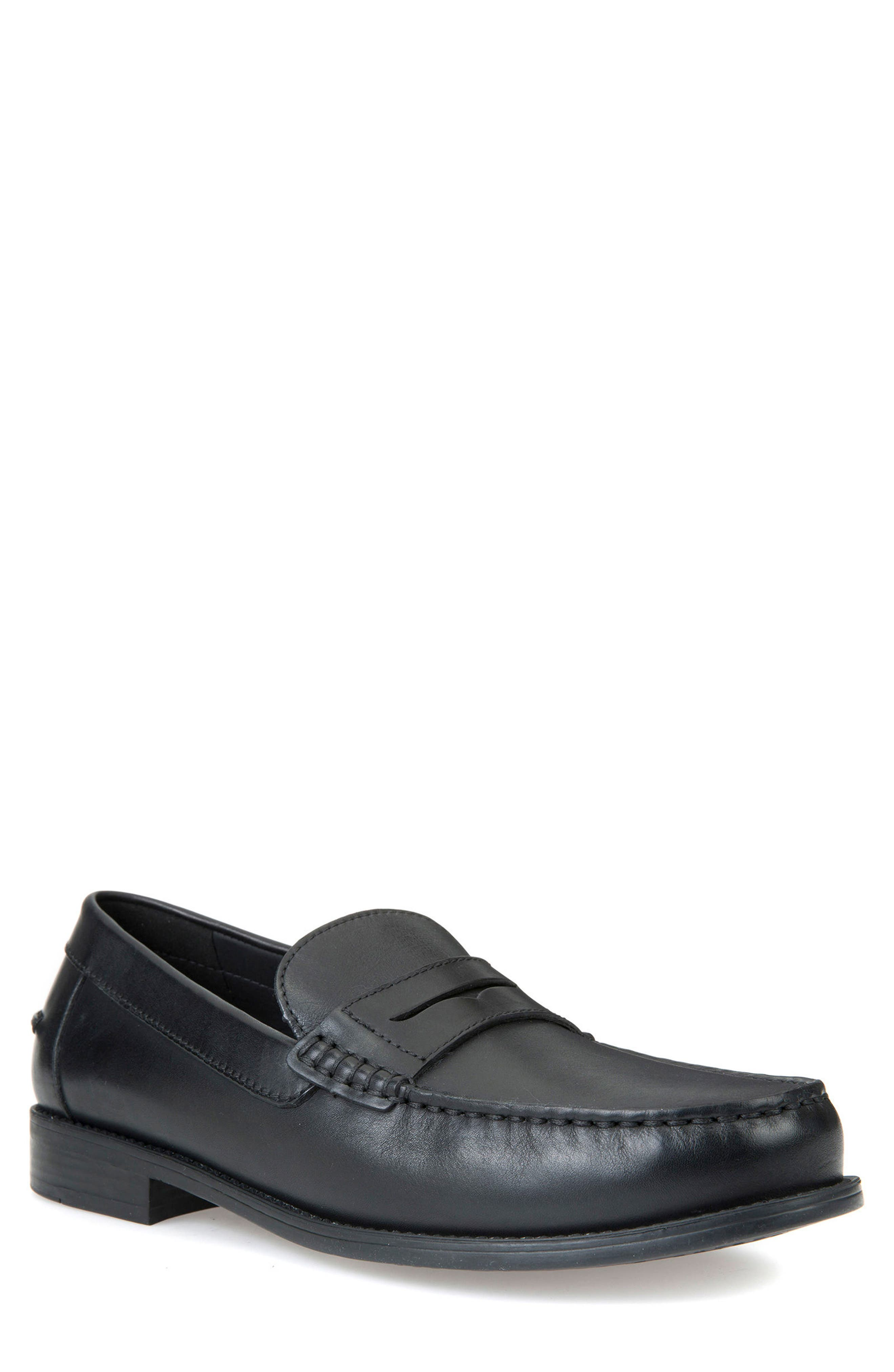 New Damon 1 Slip-On Penny Loafer,                         Main,                         color, BLACK LEATHER