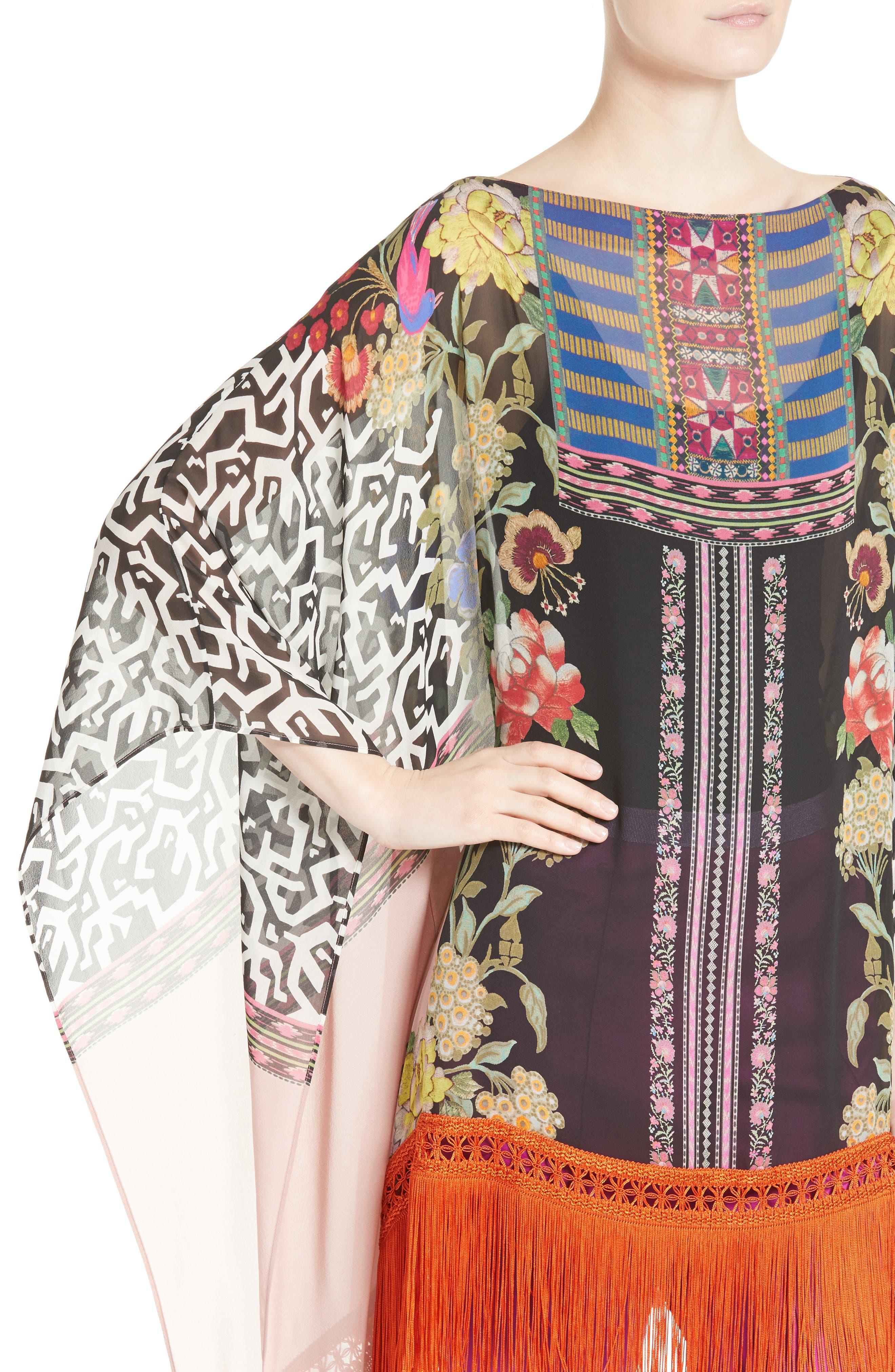 Fringe Trim Floral Print Silk Poncho,                             Alternate thumbnail 4, color,
