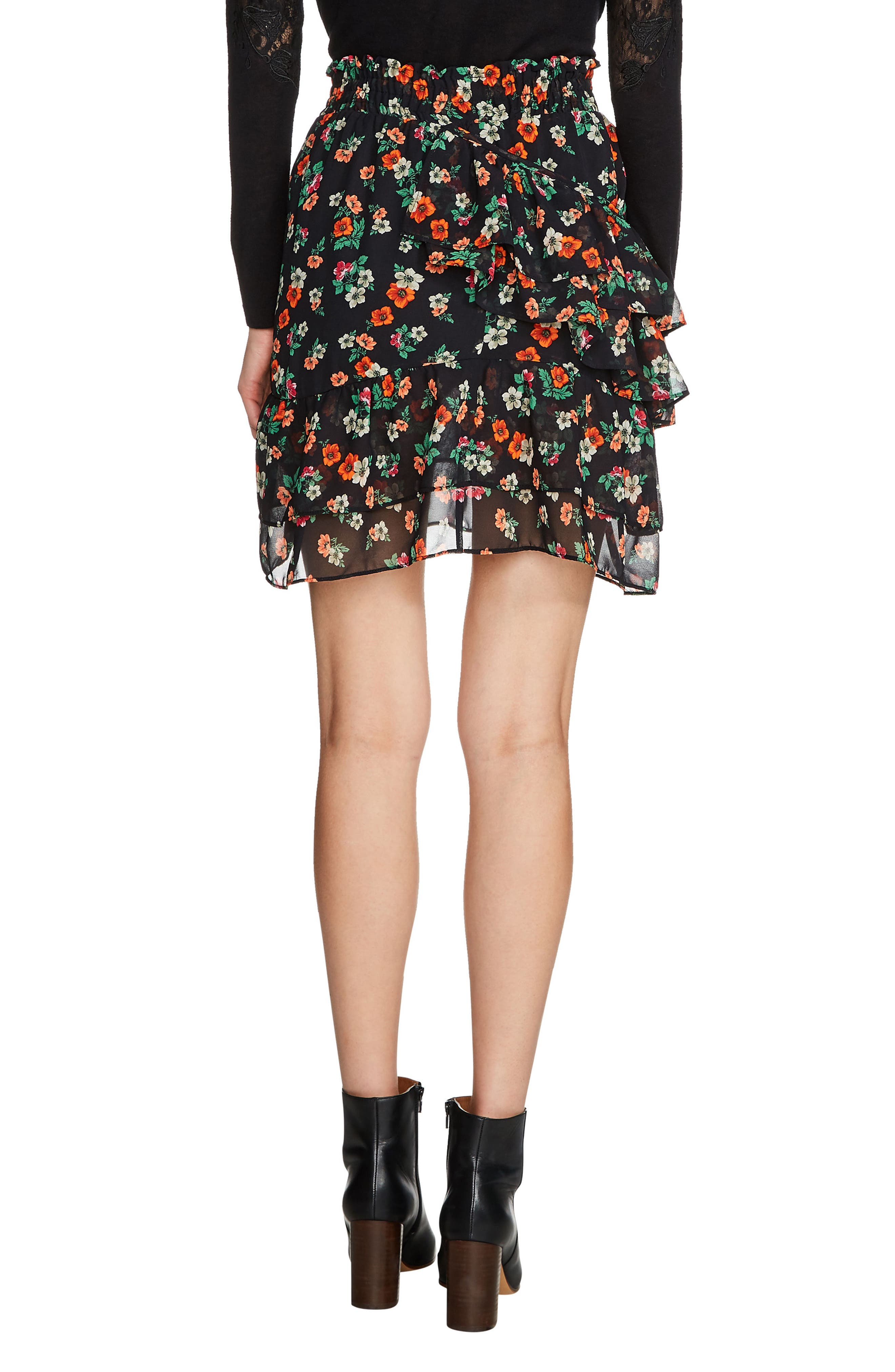 Floral Chiffon Tiered Skirt,                             Alternate thumbnail 2, color,                             001