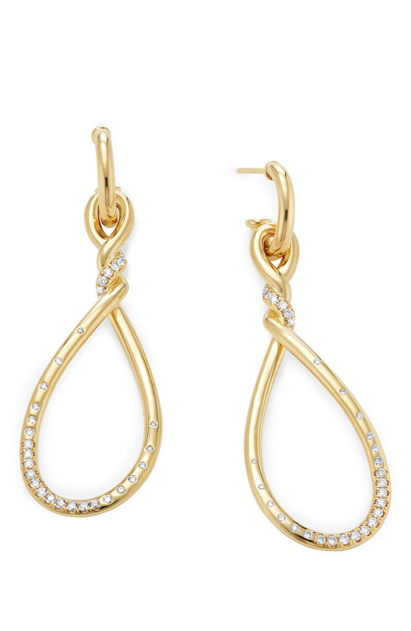 Continuance Large Drop Earrings with Diamonds in 18K Gold,                             Alternate thumbnail 3, color,                             YELLOW GOLD