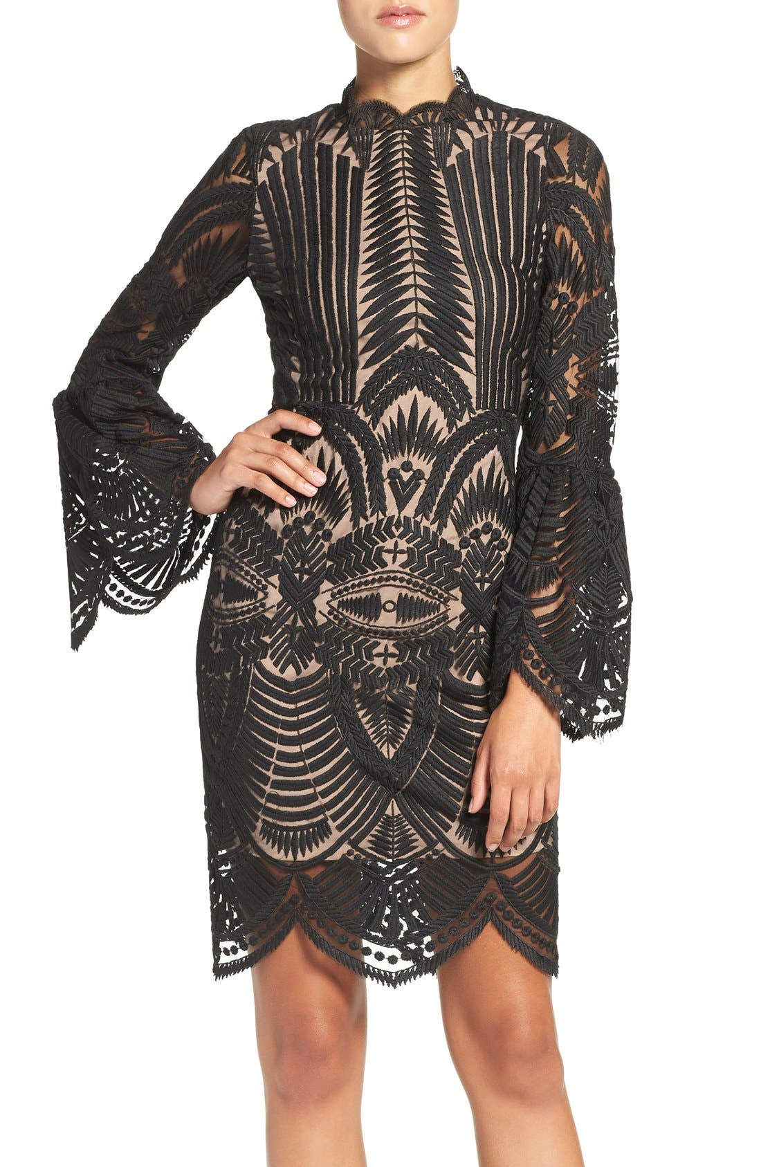 'Emmie' Bell Sleeve Lace Sheath Dress, Main, color, 001