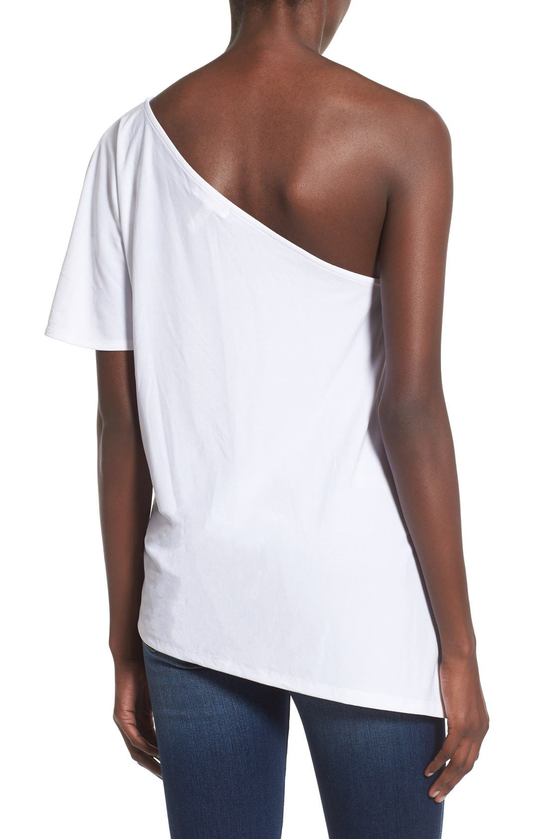 LEITH,                             One Shoulder Tee,                             Alternate thumbnail 5, color,                             100