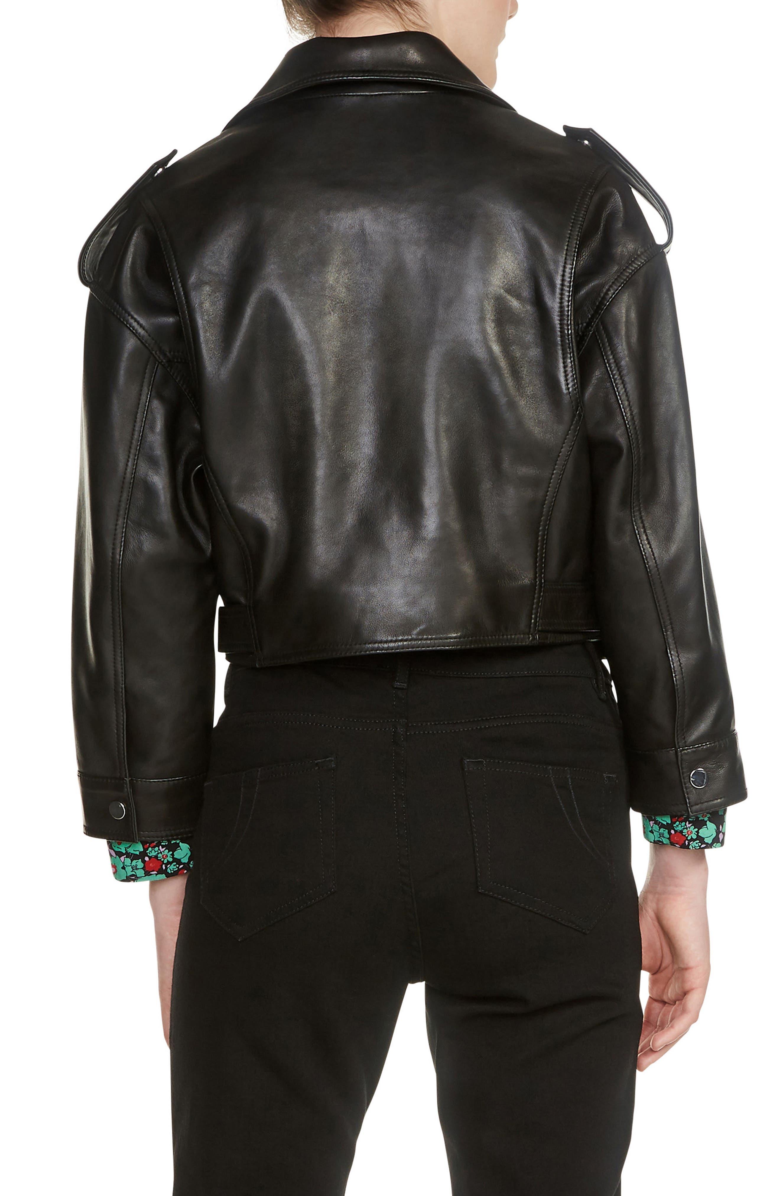 MAJE,                             Lambskin Leather Moto Jacket,                             Alternate thumbnail 2, color,                             001