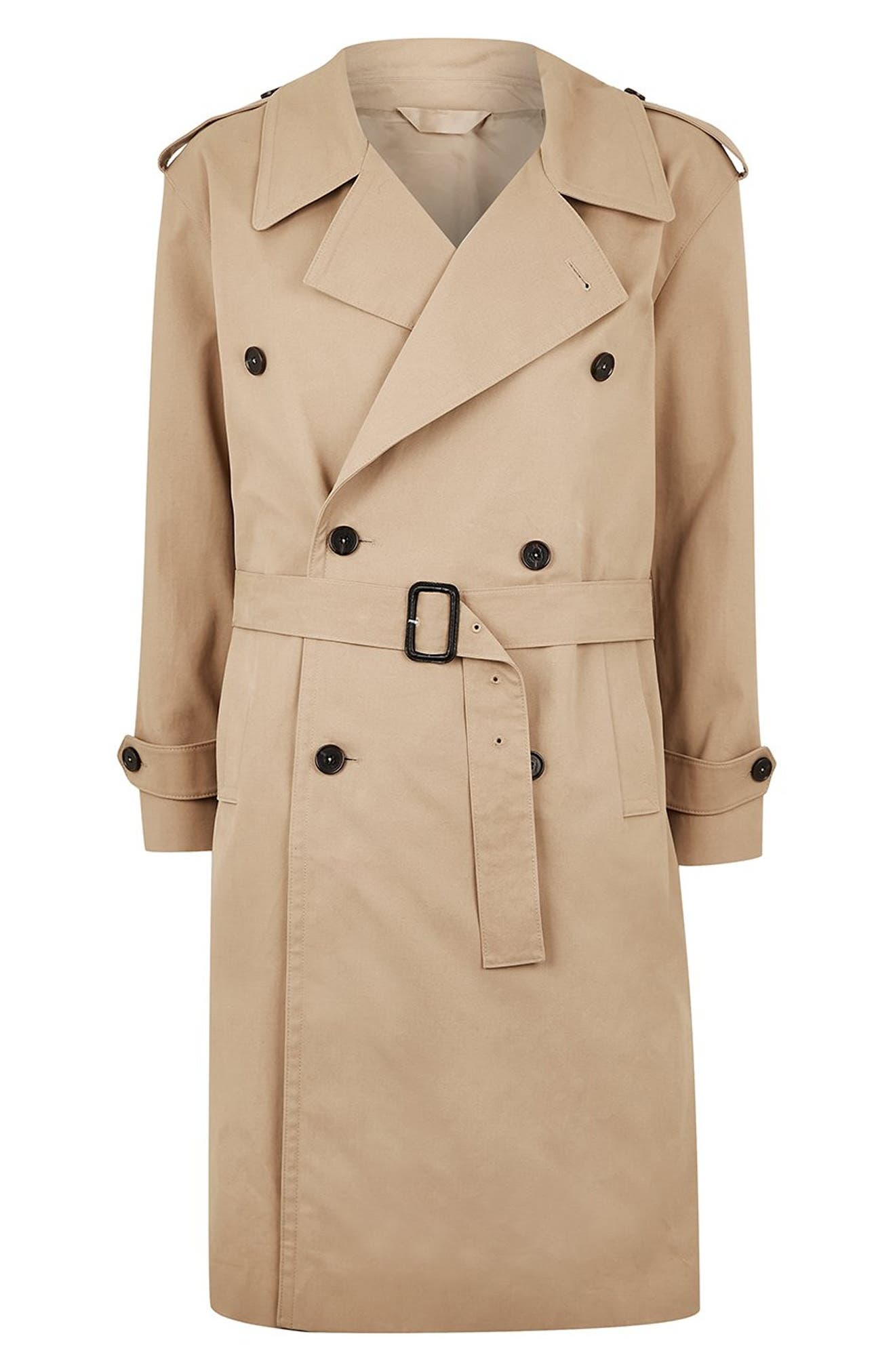 Double Breasted Trench Coat,                             Alternate thumbnail 4, color,                             STONE