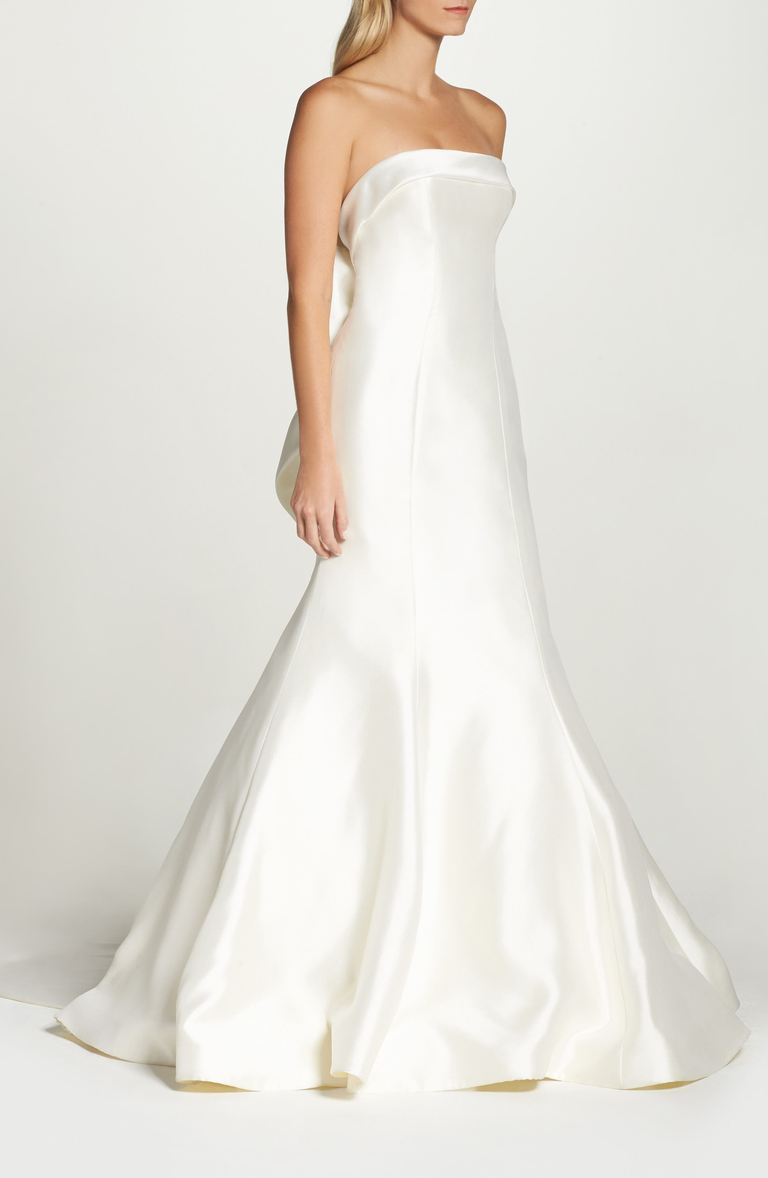 Peony Strapless Mikado Trumpet Gown with Bow Train,                             Alternate thumbnail 3, color,                             IVORY
