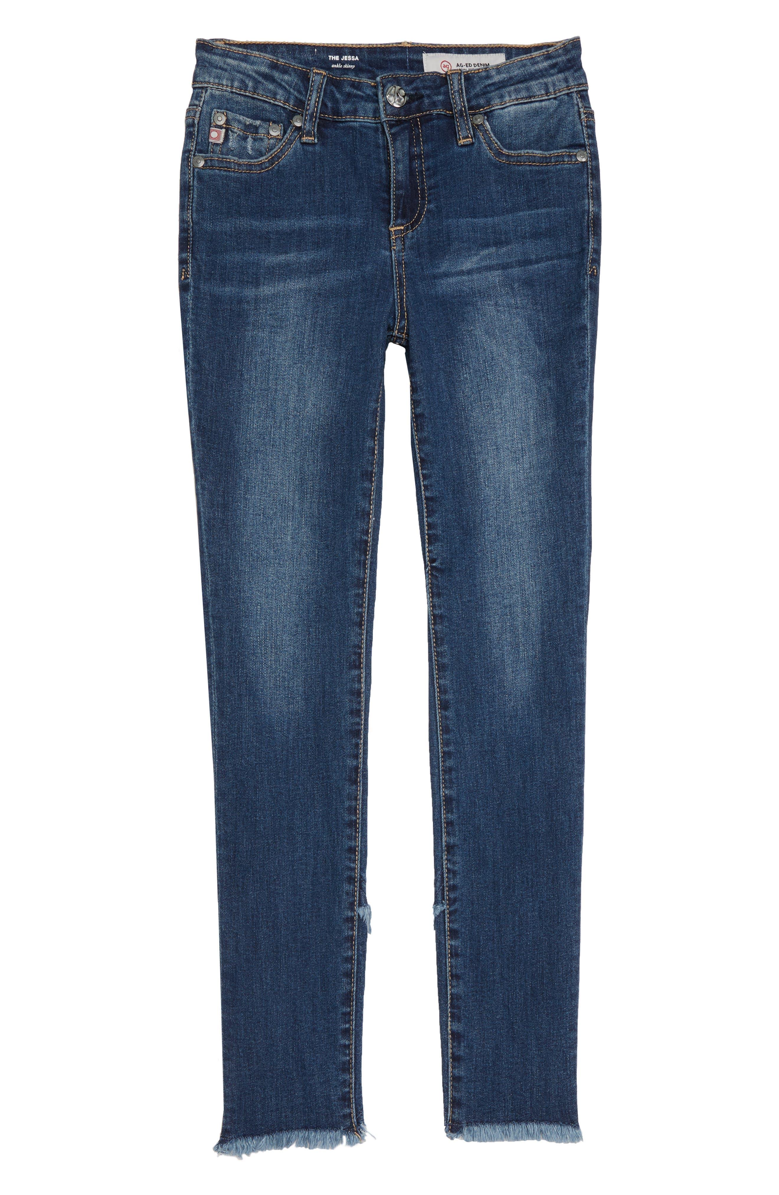 Girls Ag Adriano Goldschmied Kids The Jessa Tulip Hem Ankle Jeans Size 14  Blue
