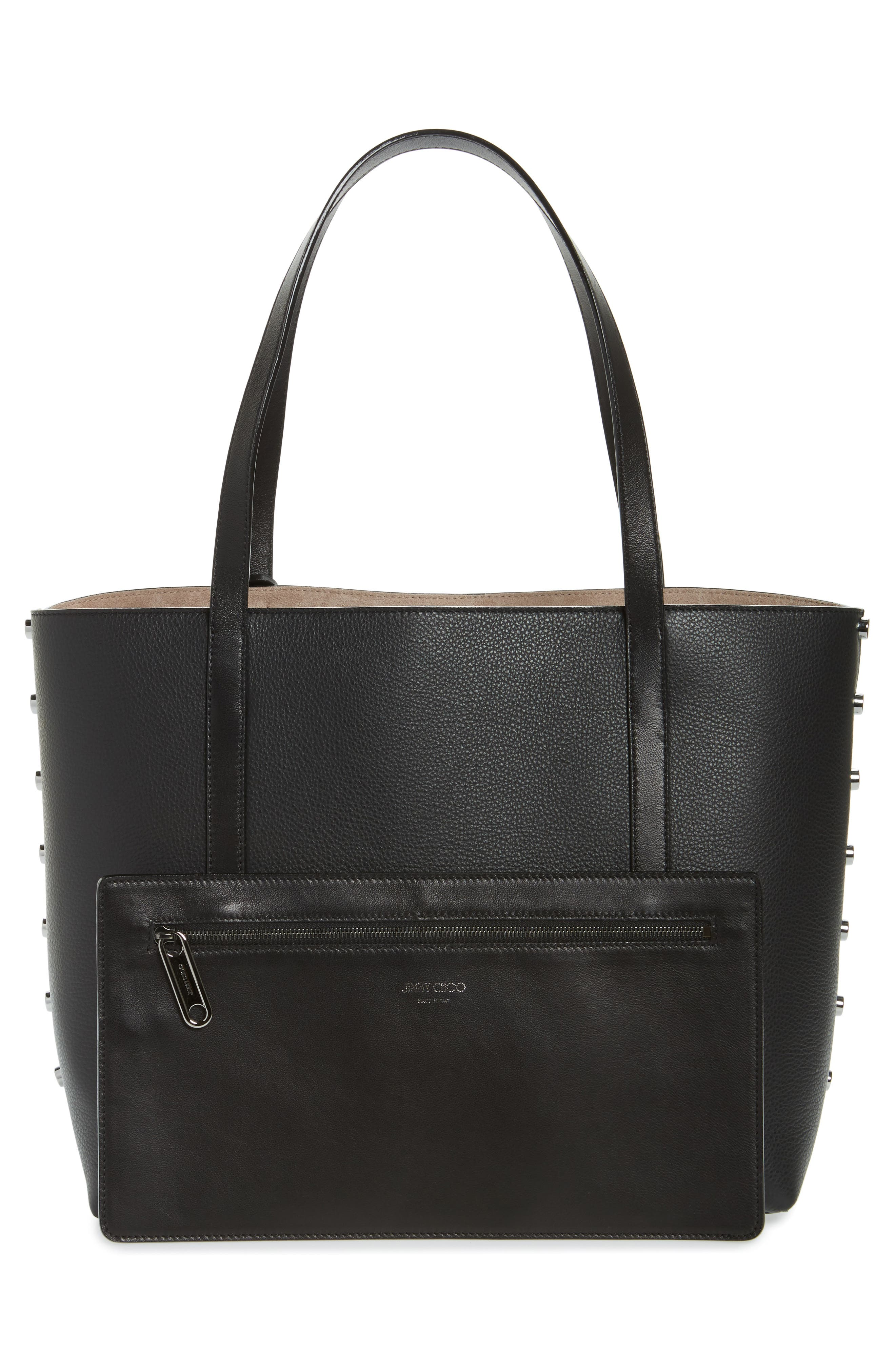 Twist Leather Tote,                             Alternate thumbnail 3, color,                             010