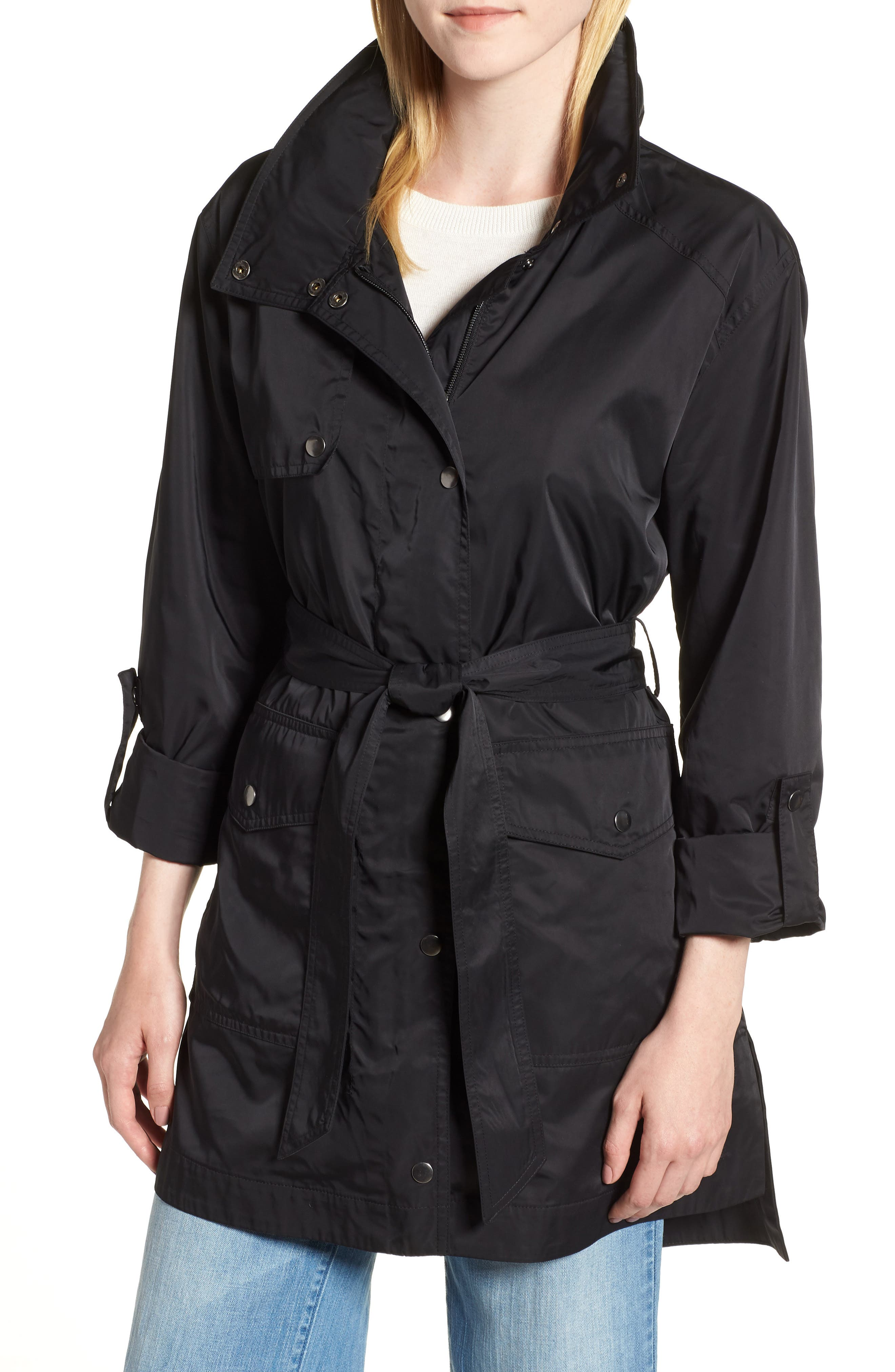 HALOGEN<SUP>®</SUP>,                             Lightweight Trench Coat,                             Main thumbnail 1, color,                             BLACK