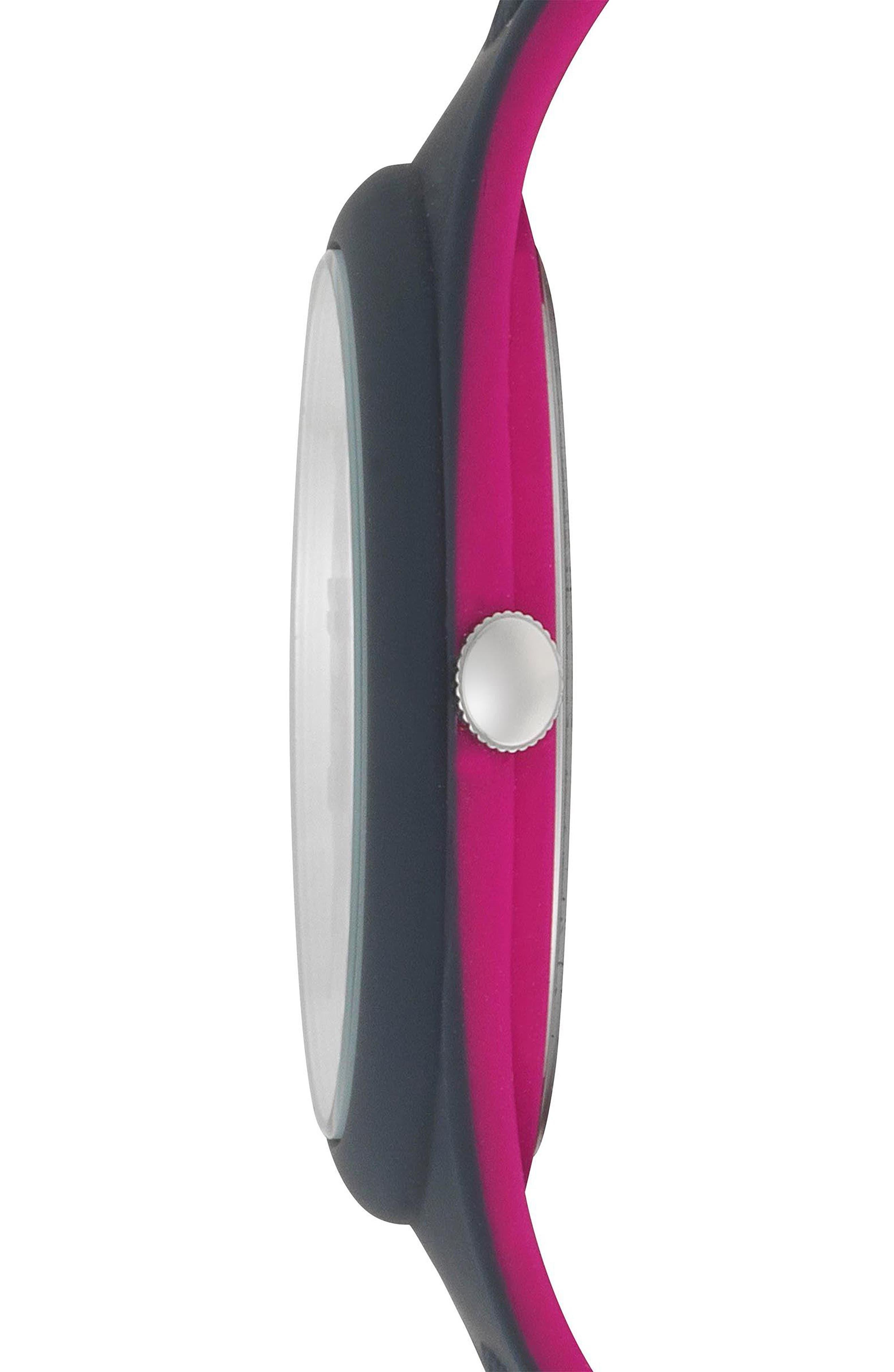 Fire Island Silicone Strap Watch, 39mm,                             Alternate thumbnail 2, color,                             GREY/ FUCHSIA