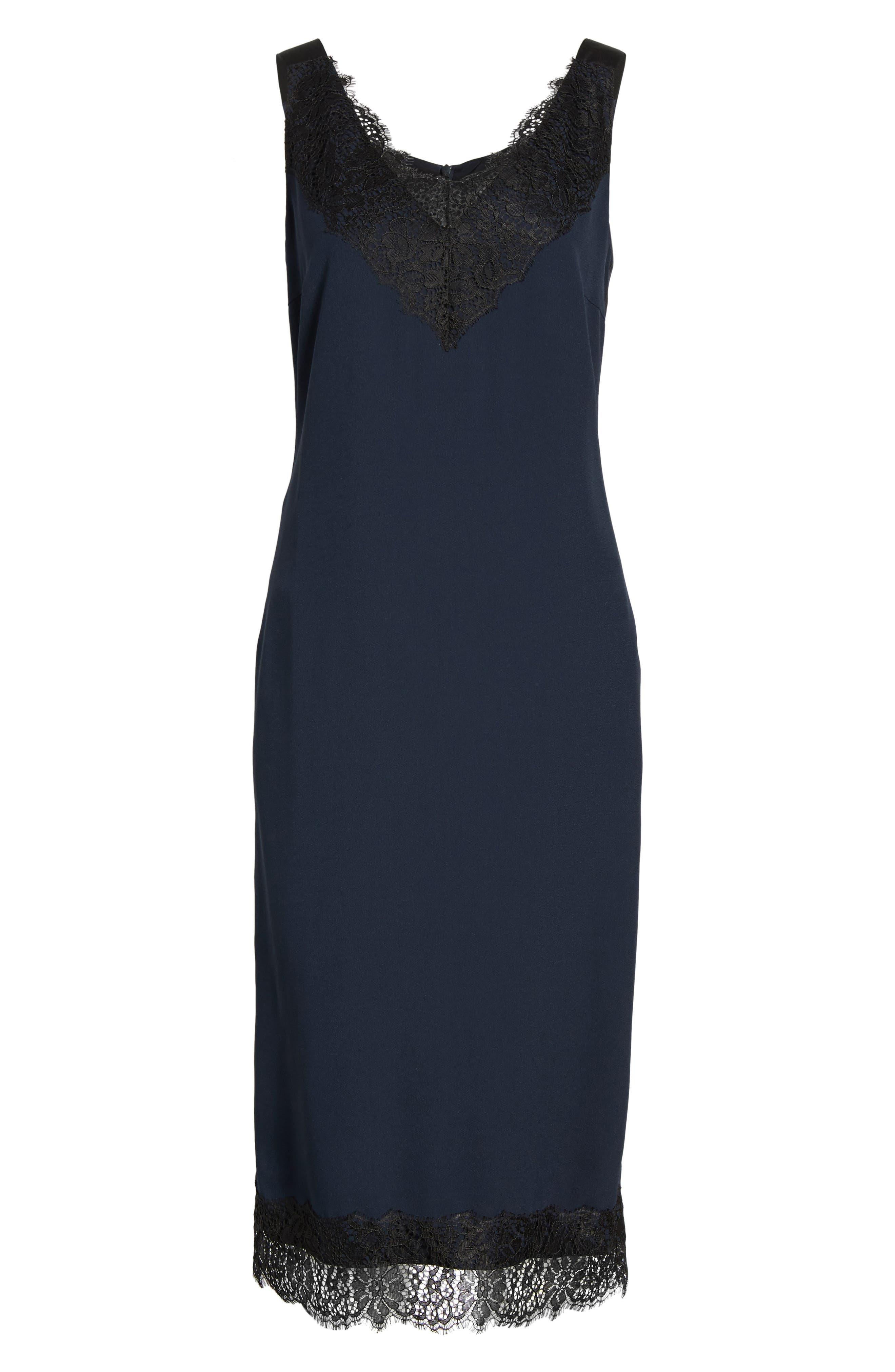 Haminka Lace Trim Shift Dress,                             Alternate thumbnail 6, color,                             480
