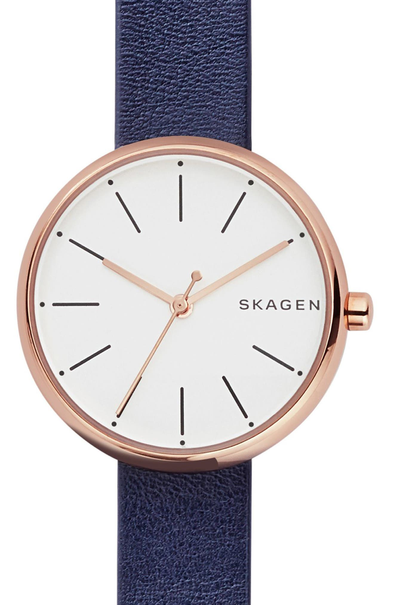 Signatur Leather Strap Watch, 30mm,                         Main,                         color, BLUE/ WHITE/ ROSE GOLD