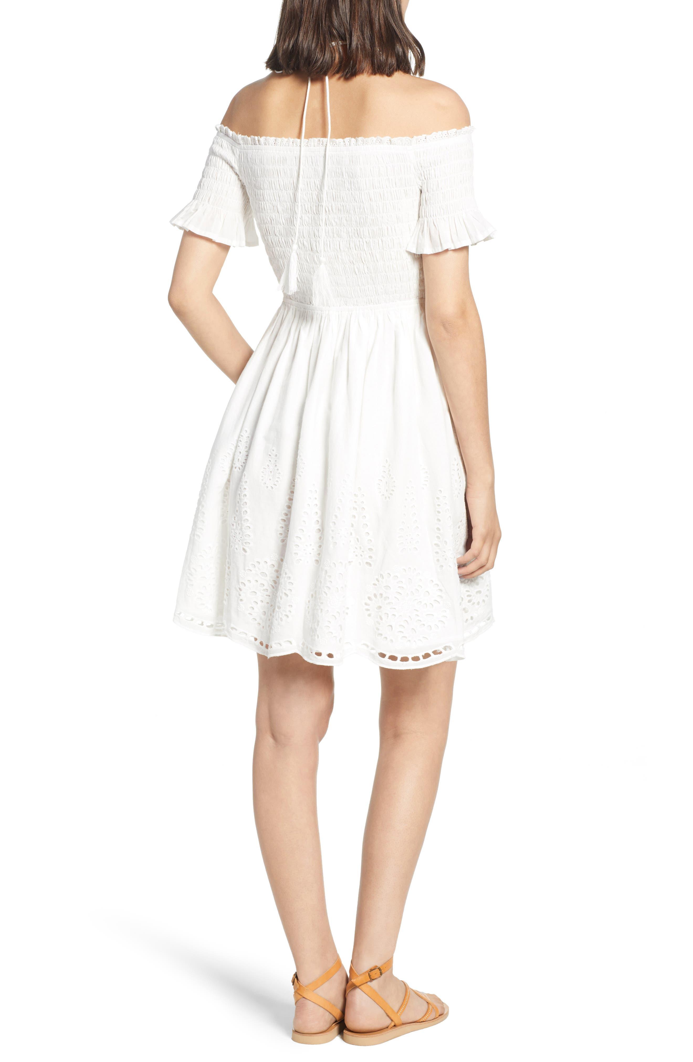 Smocked Off the Shoulder Dress,                             Alternate thumbnail 2, color,                             WHITE EYELET