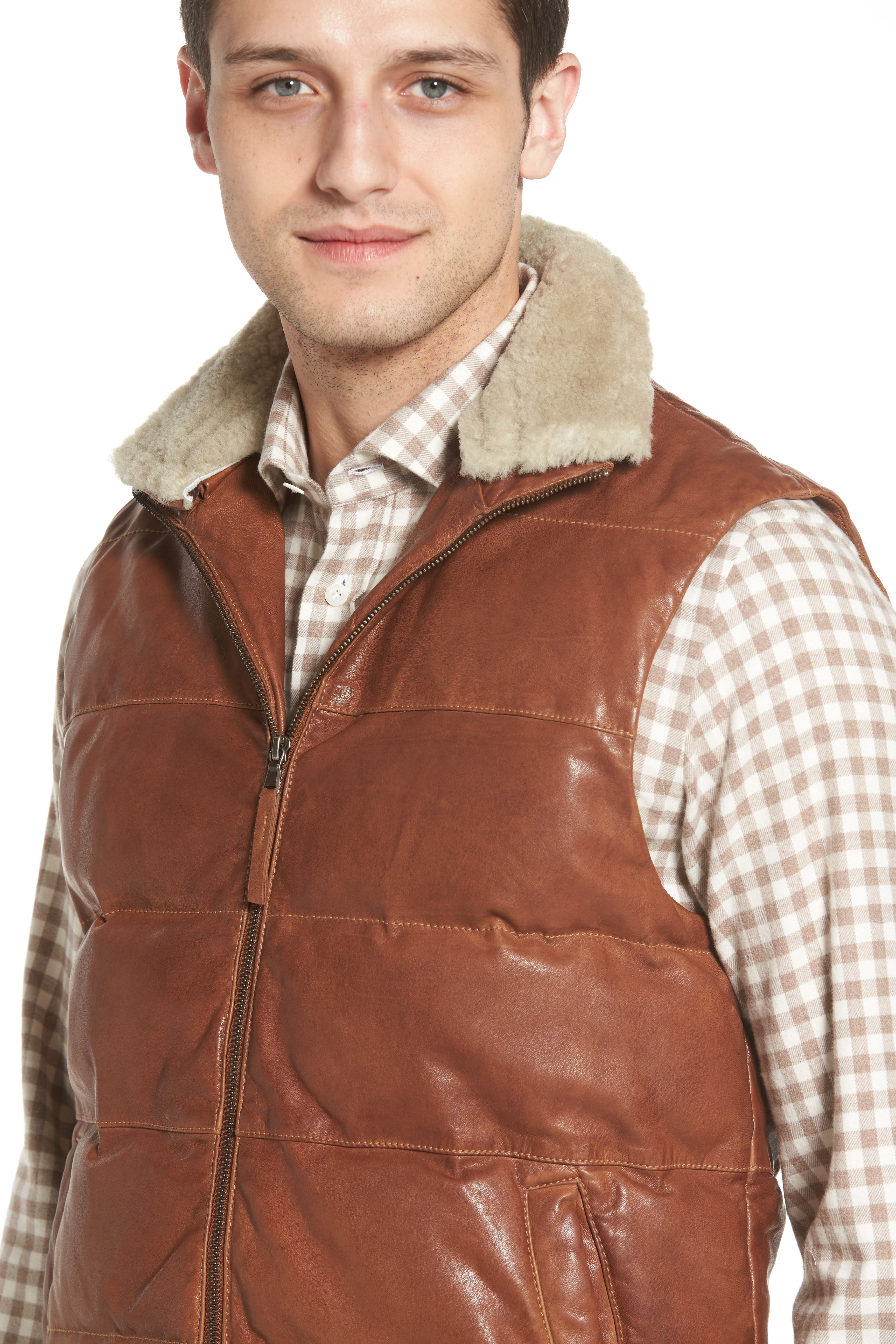 Quilted Leather Vest with Removable Genuine Shearling Collar,                             Alternate thumbnail 2, color,                             210