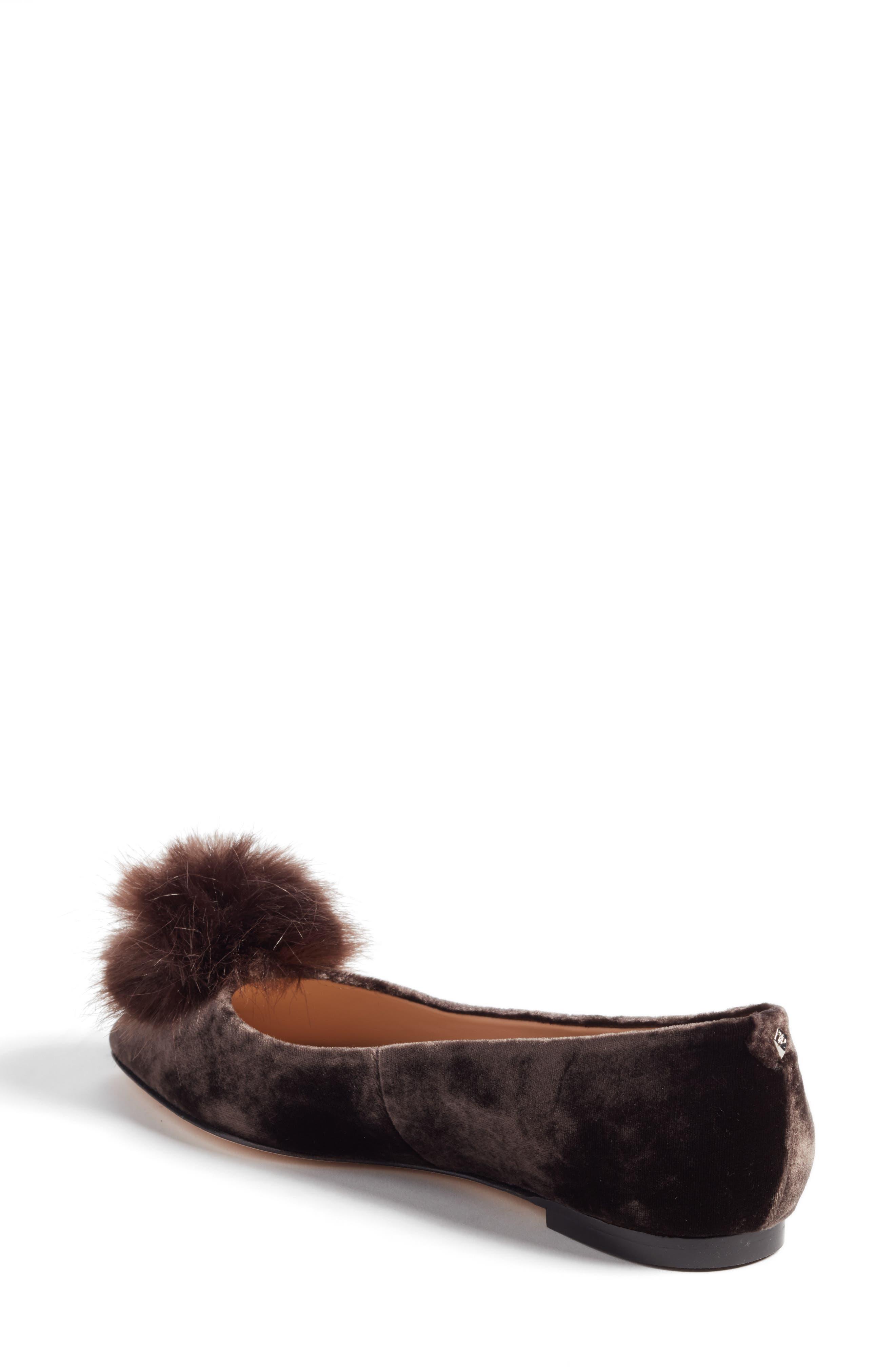Raddie Faux Fur Pompom Flat,                             Alternate thumbnail 2, color,                             020