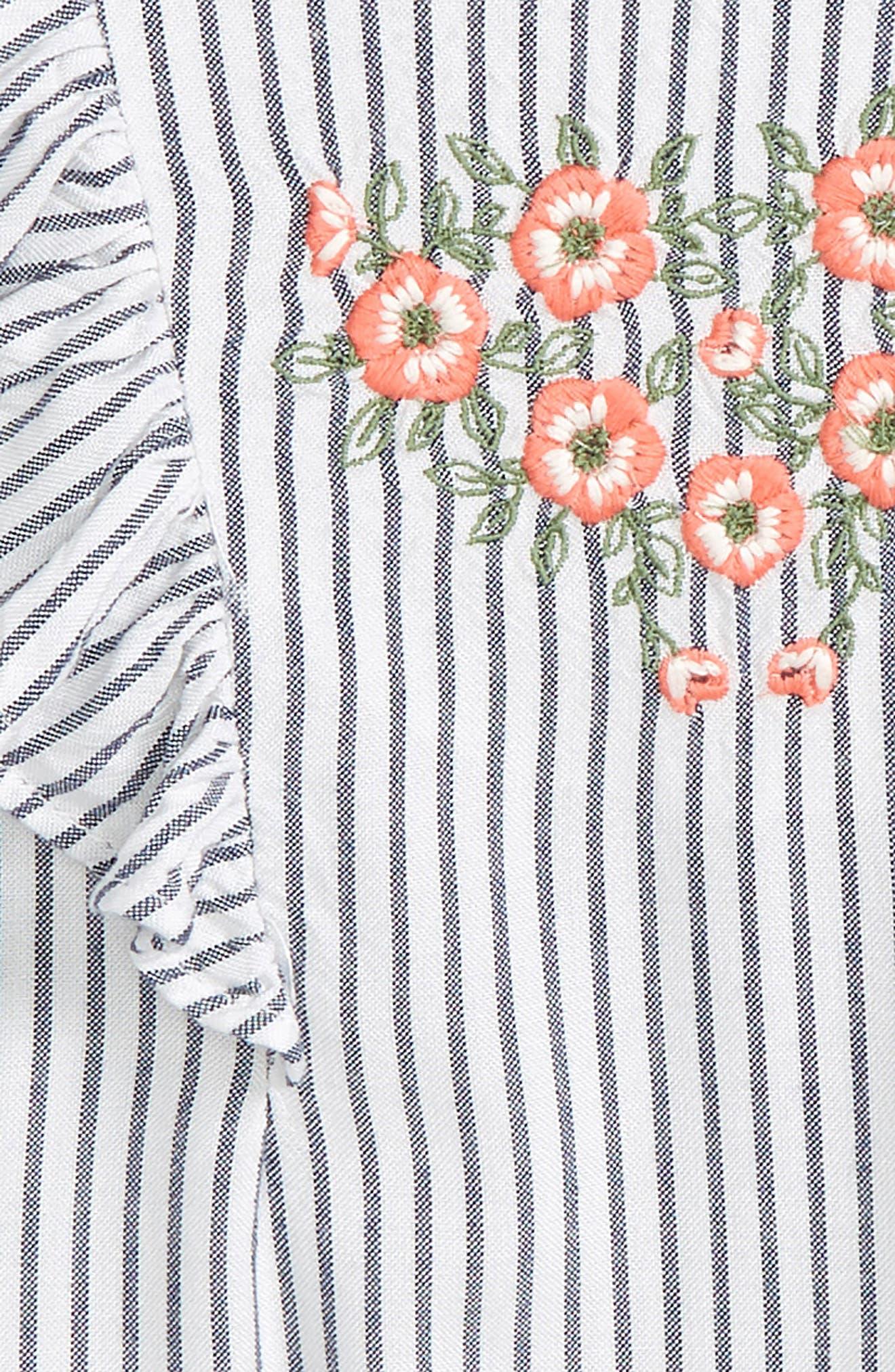 Flutter Sleeve Embroidered Romper,                             Alternate thumbnail 2, color,                             100
